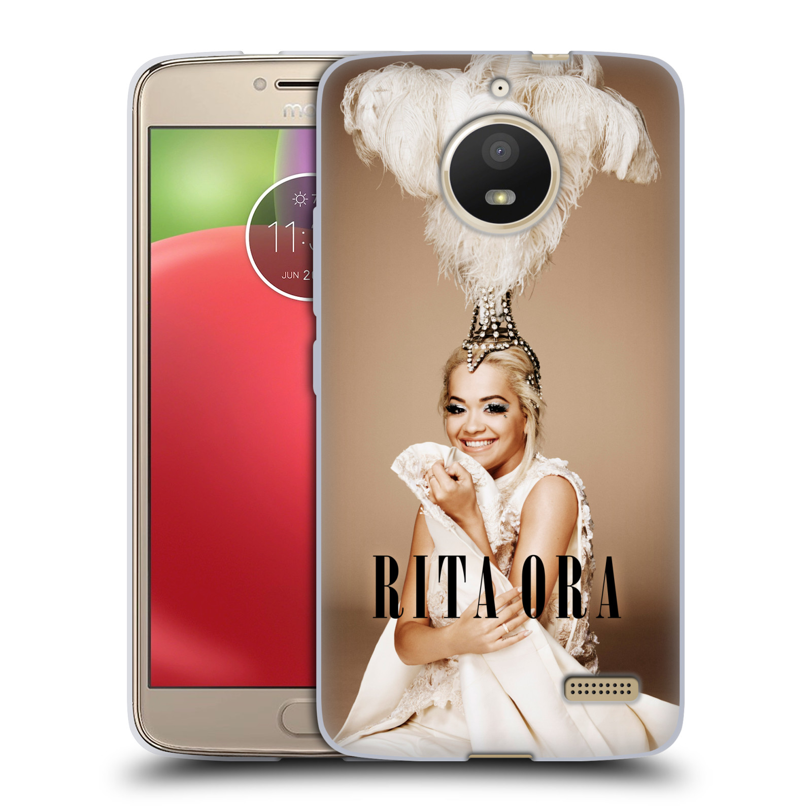 HEAD CASE silikonový obal na mobil Lenovo Moto E4 zpěvačka Rita Ora peří