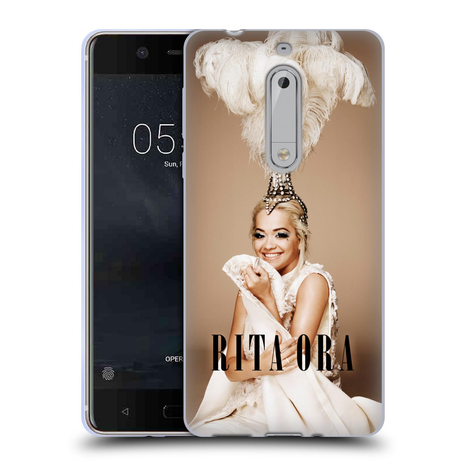 HEAD CASE silikonový obal na mobil Nokia 5 zpěvačka Rita Ora peří