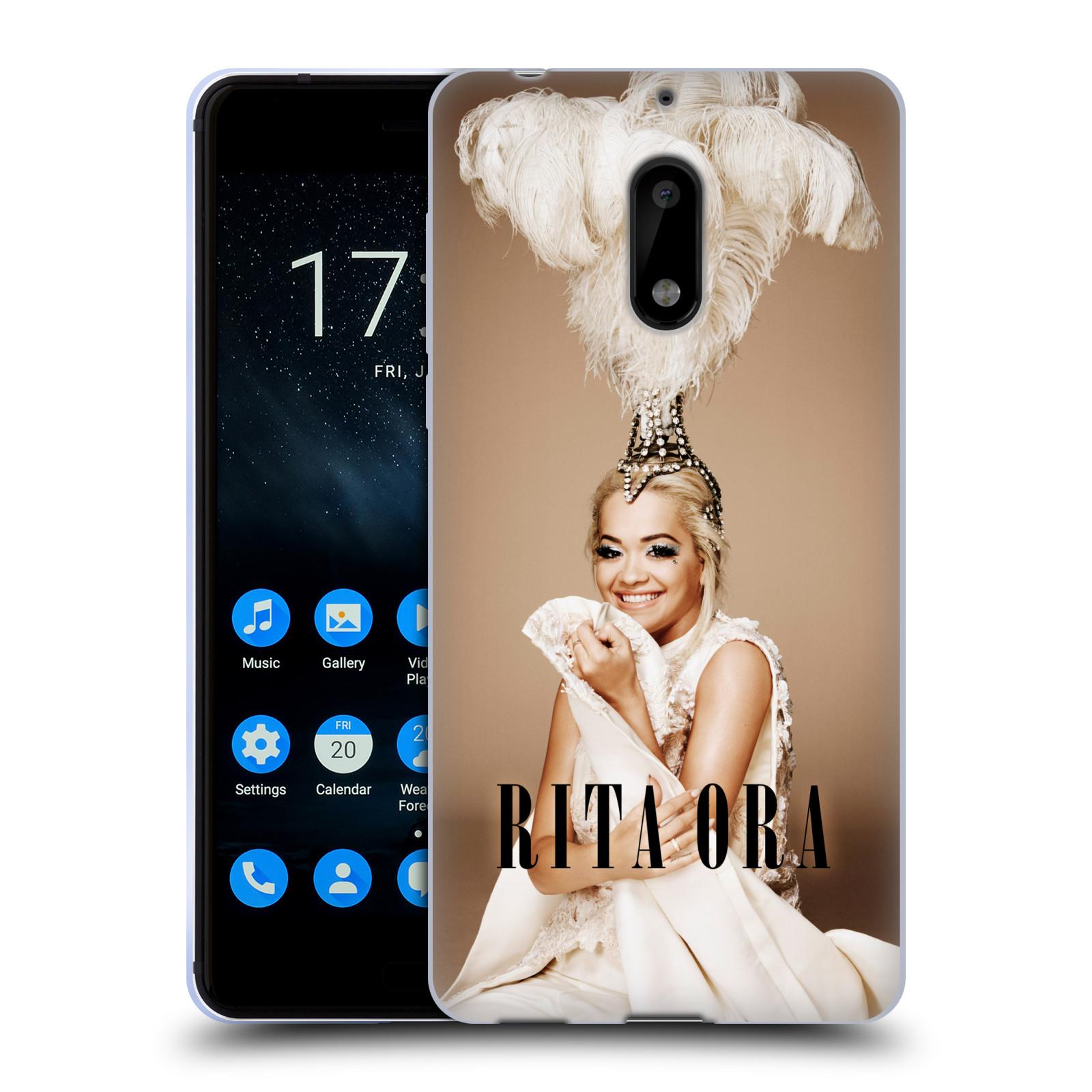 HEAD CASE silikonový obal na mobil Nokia 6 zpěvačka Rita Ora peří