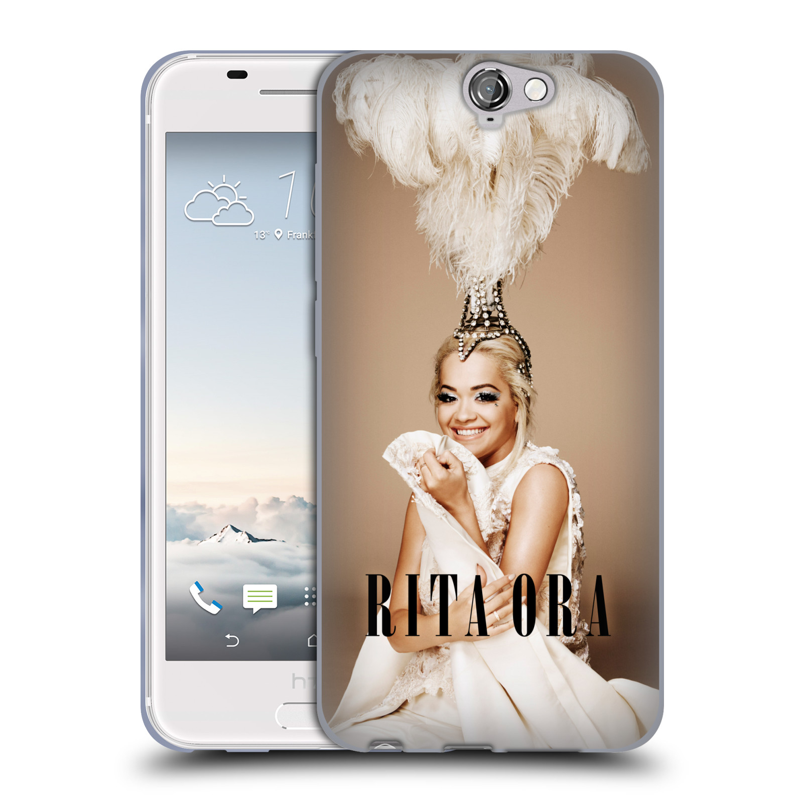 HEAD CASE silikonový obal na mobil HTC One A9 zpěvačka Rita Ora peří