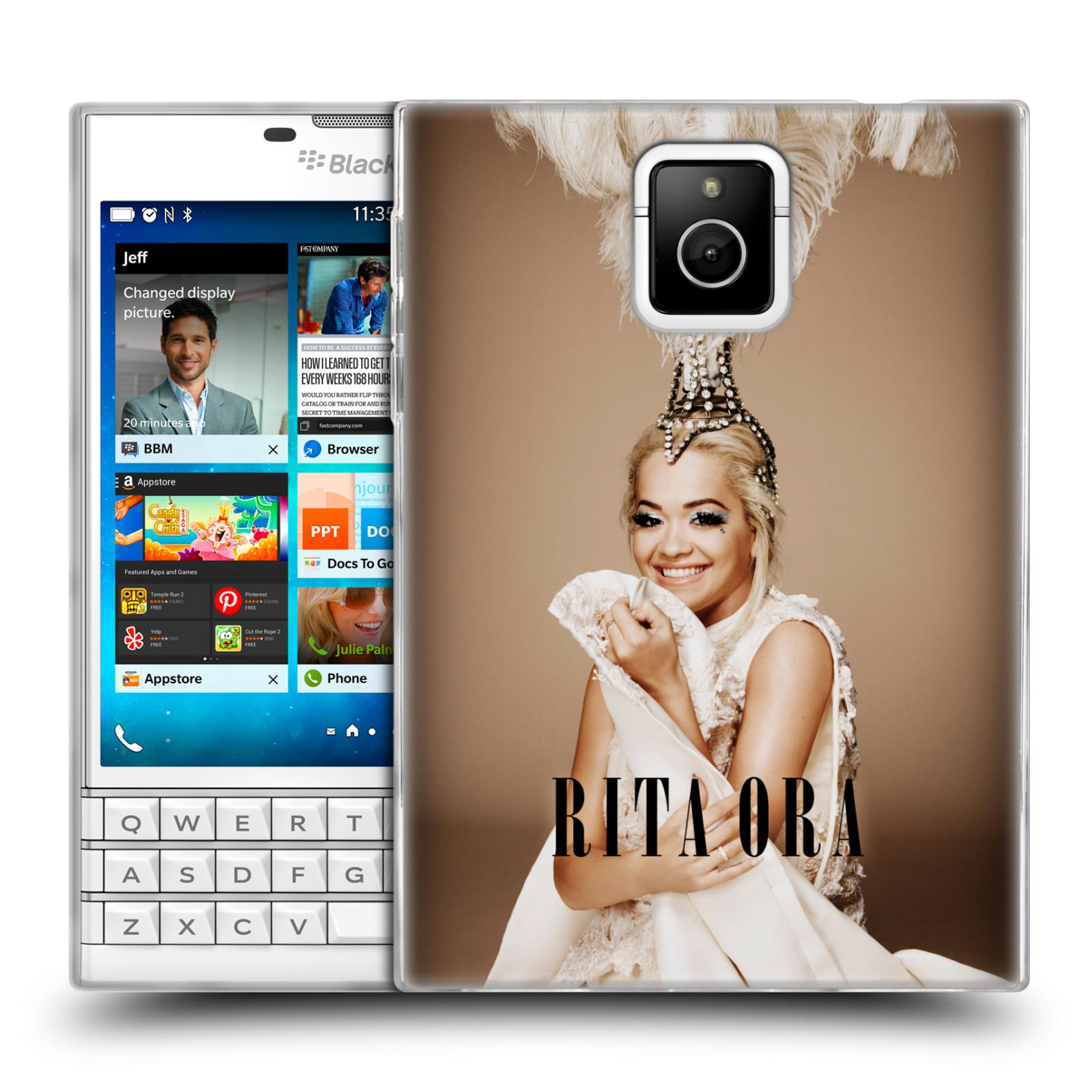 HEAD CASE silikonový obal na mobil Blackberry PASSPORT zpěvačka Rita Ora peří