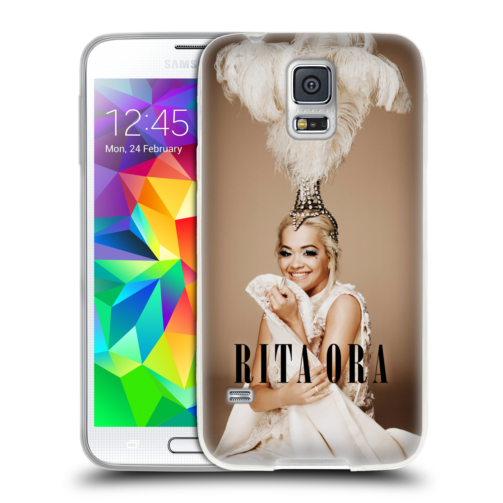 HEAD CASE silikonový obal na mobil Samsung Galaxy S5 zpěvačka Rita Ora peří