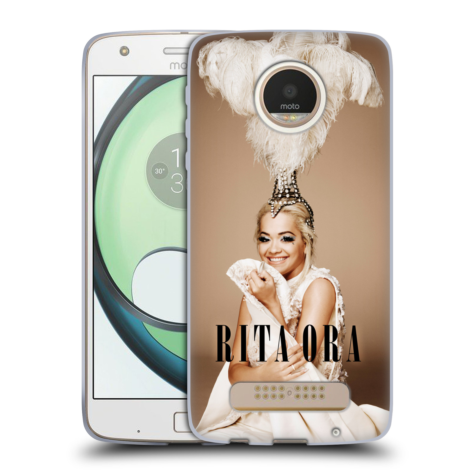 HEAD CASE silikonový obal na mobil Lenovo Moto Z PLAY zpěvačka Rita Ora peří