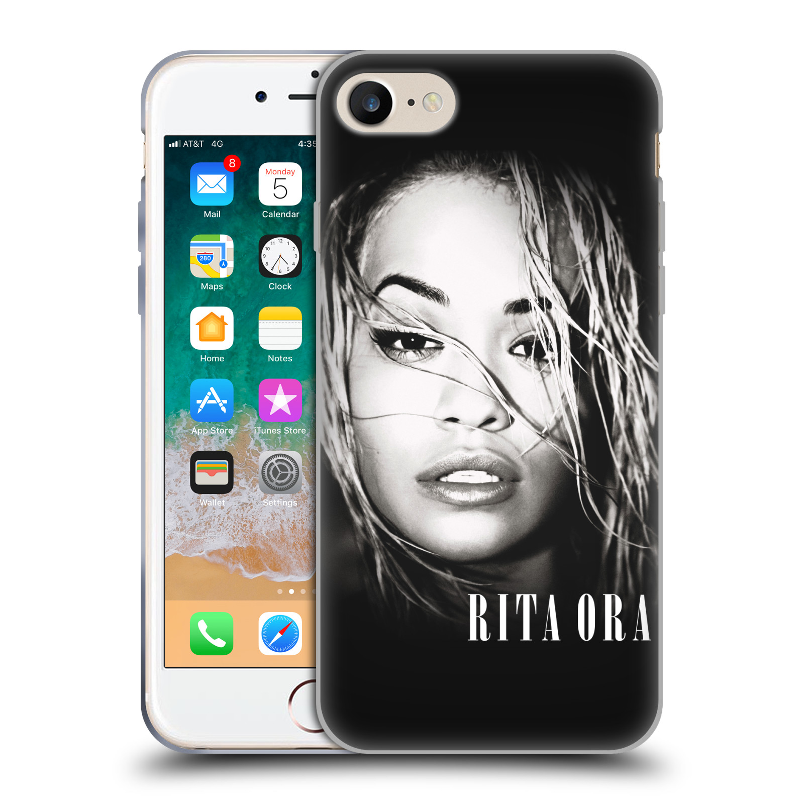 HEAD CASE silikonový obal na mobil Apple Iphone 7 zpěvačka Rita Ora foto tvář