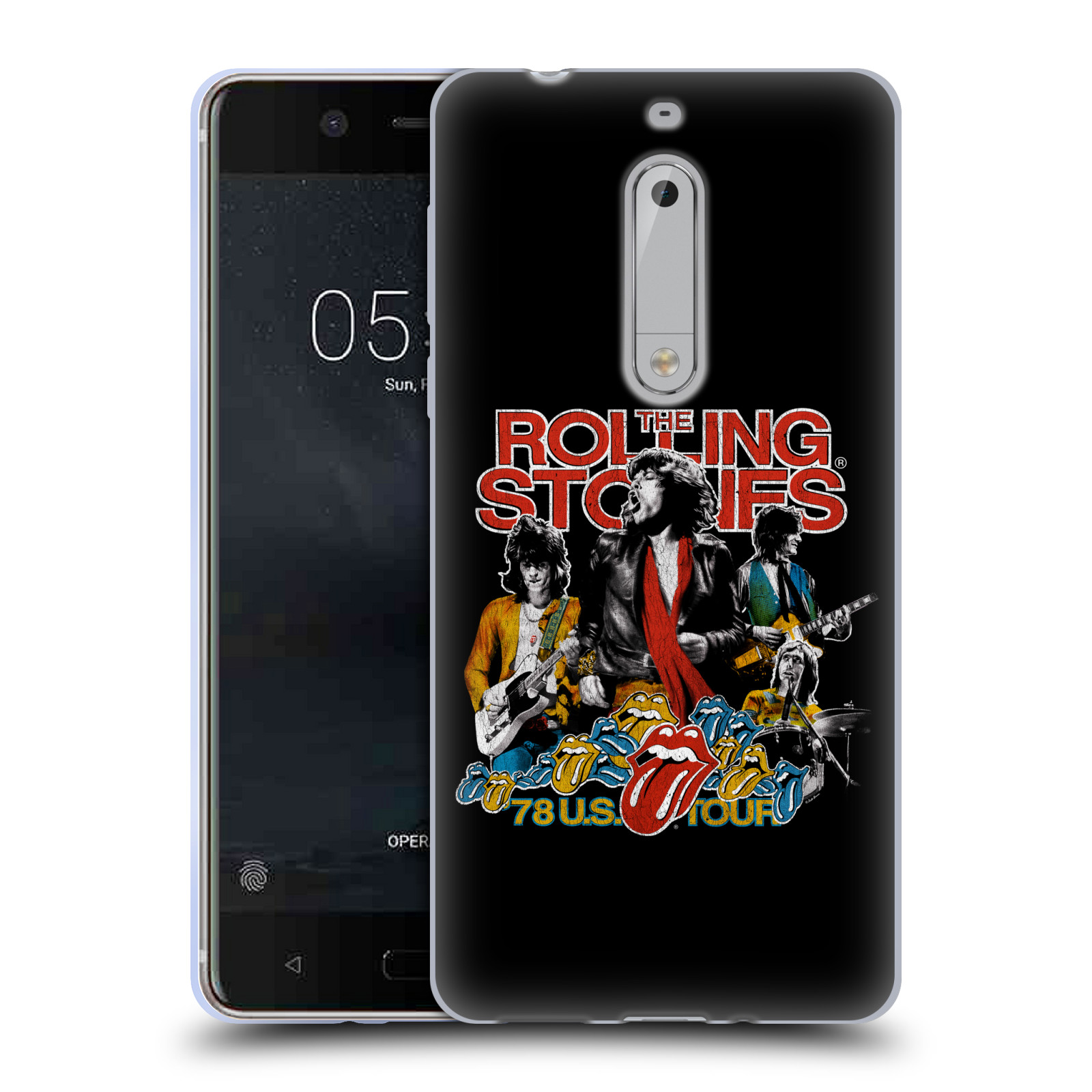 HEAD CASE silikonový obal na mobil Nokia 5 rocková skupina Rolling Stones barevný motiv