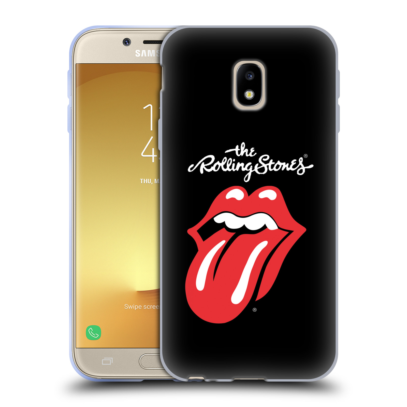 HEAD CASE silikonový obal na mobil Samsung Galaxy J3 2017 (J330, J330F) rocková skupina Rolling Stones znak černá a červená