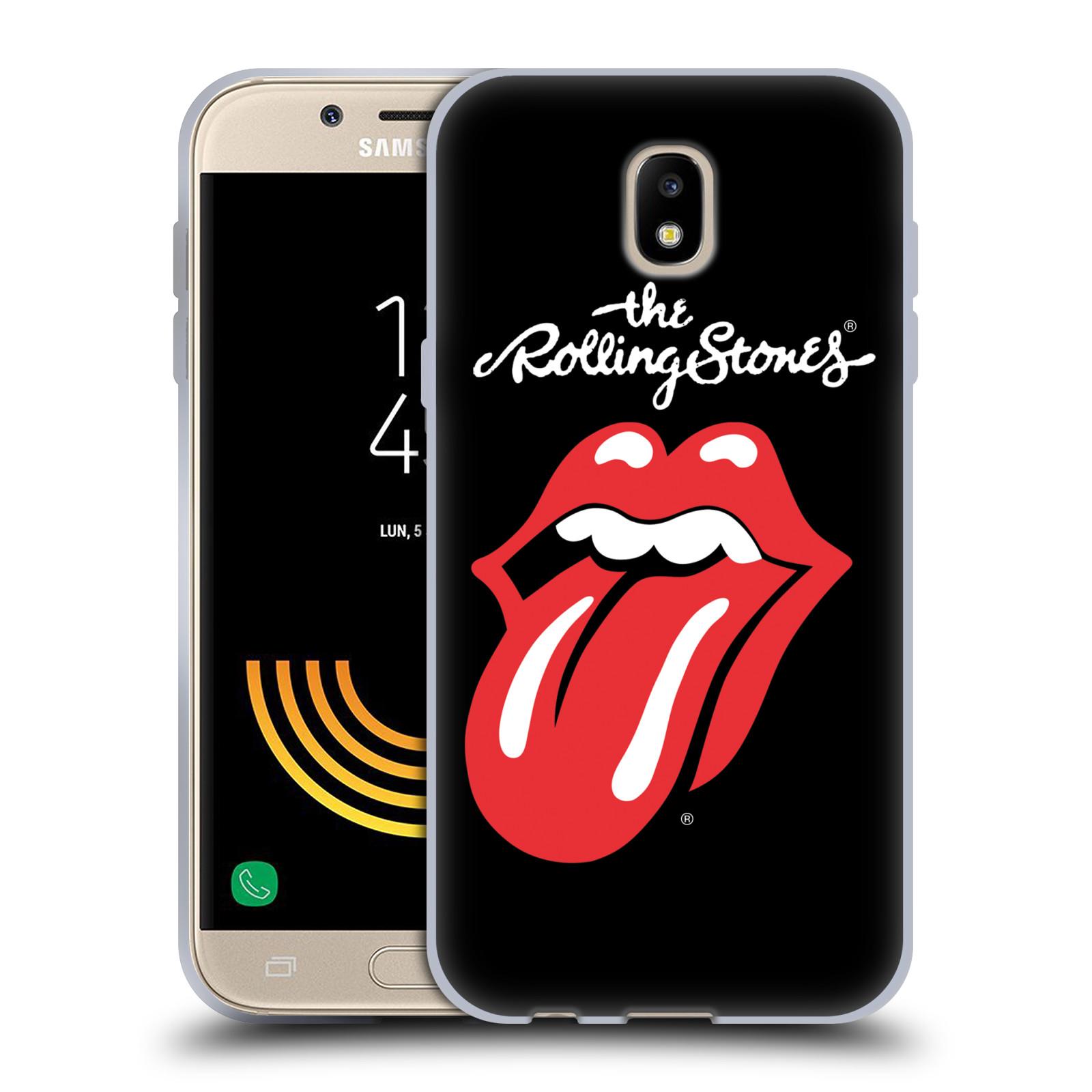 HEAD CASE silikonový obal na mobil Samsung Galaxy J5 2017 rocková skupina Rolling Stones znak černá a červená