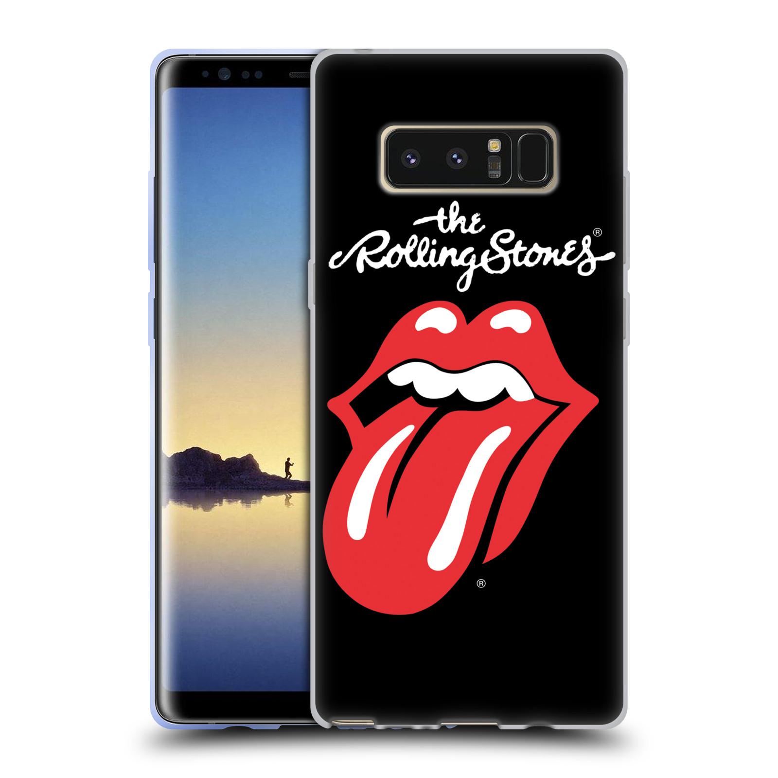 HEAD CASE silikonový obal na mobil Samsung Galaxy Note 8 rocková skupina Rolling Stones znak černá a červená