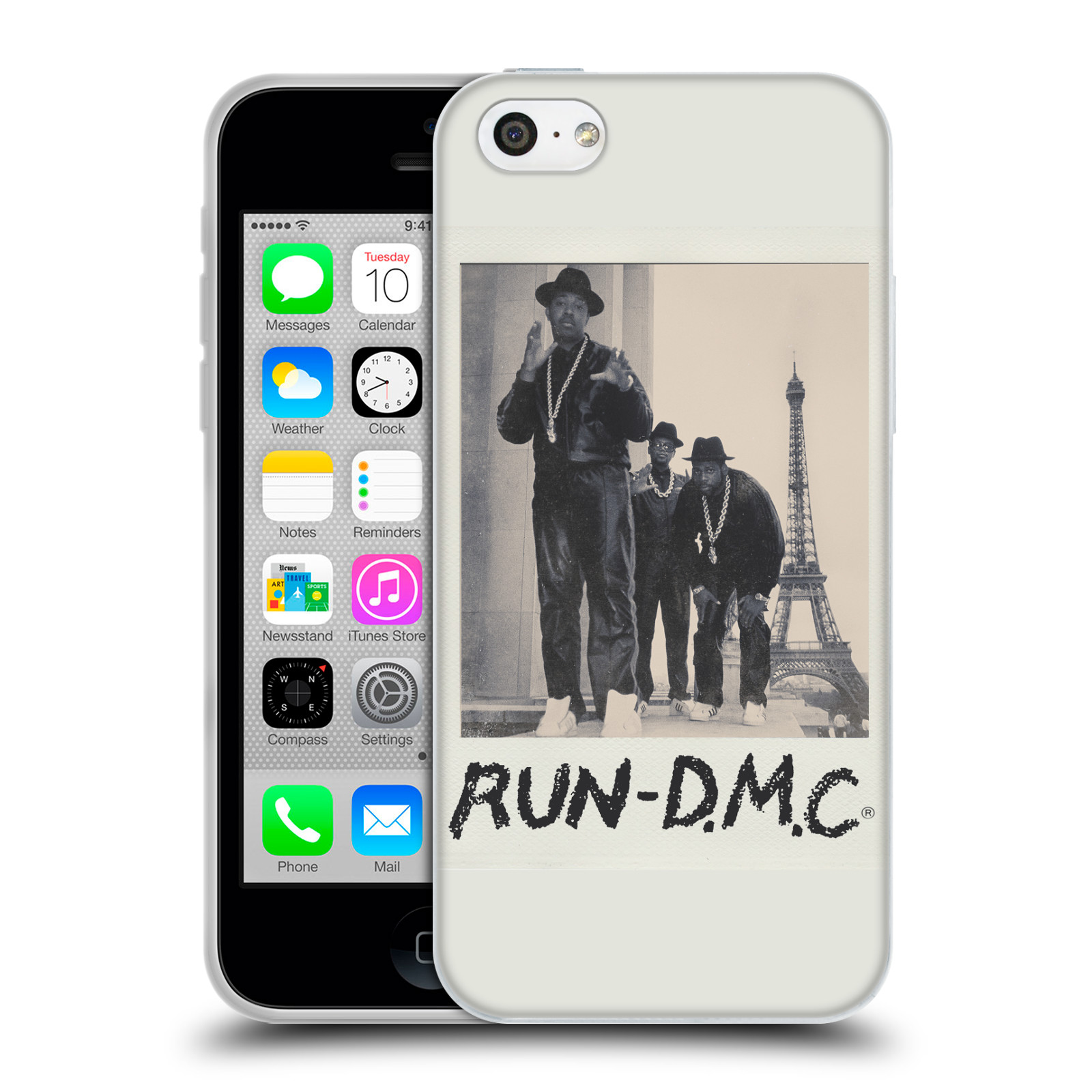 HEAD CASE silikonový obal na mobil Apple Iphone 5C rapová kapela Run DMC foto polaroid