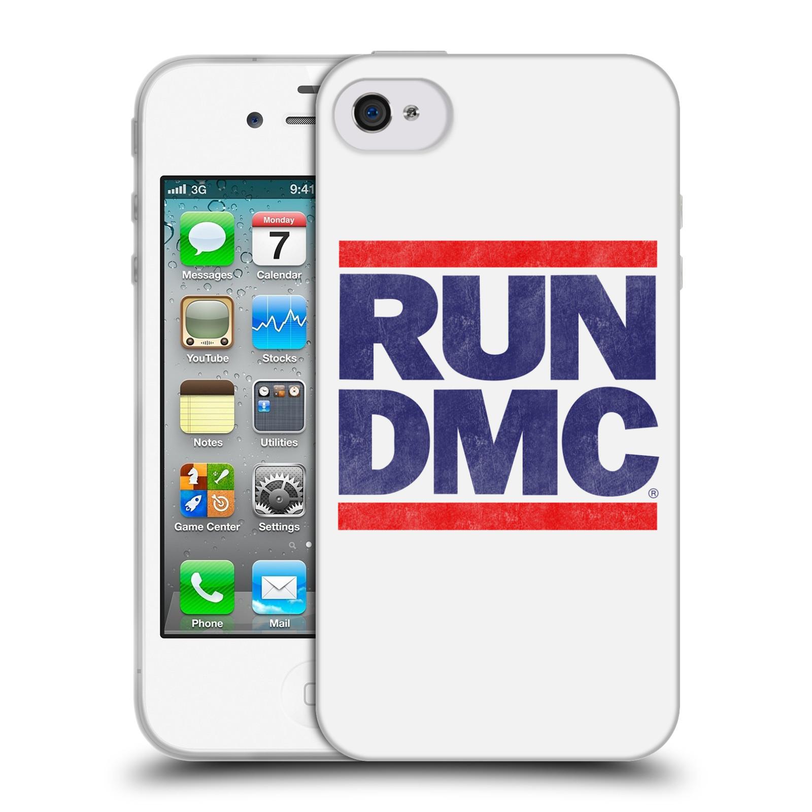 HEAD CASE silikonový obal na mobil Apple Iphone 4/4S rapová kapela Run DMC modrá a červená nadpis