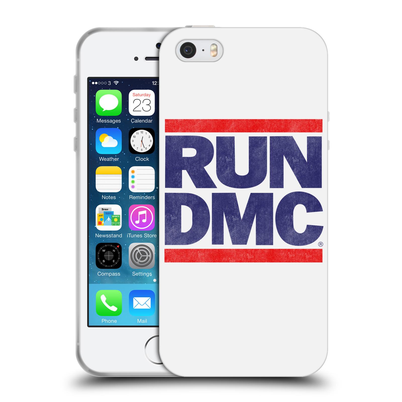 HEAD CASE silikonový obal na mobil Apple Iphone 5/5S rapová kapela Run DMC modrá a červená nadpis