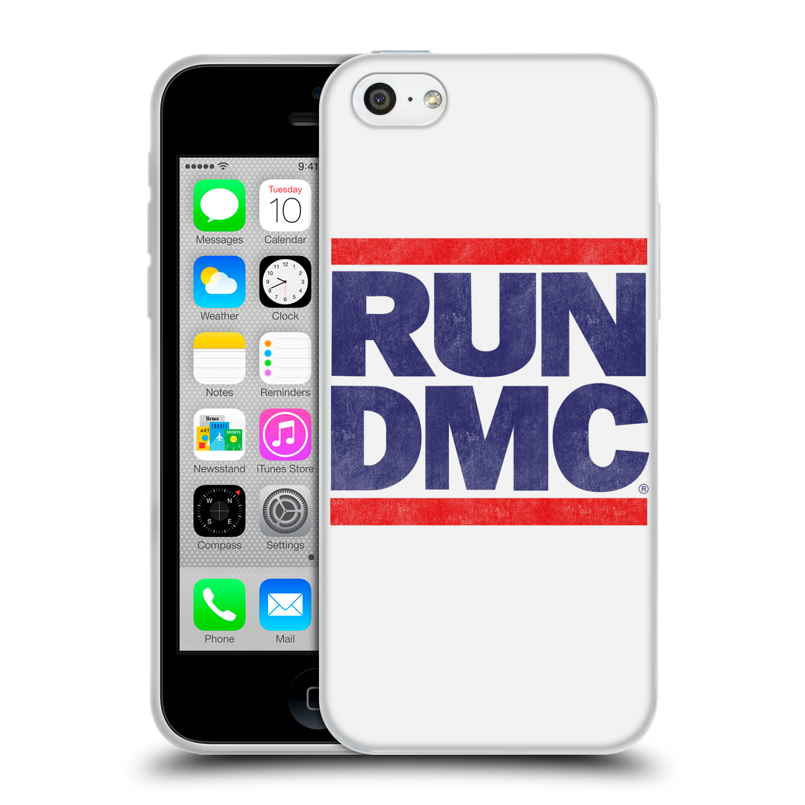 HEAD CASE silikonový obal na mobil Apple Iphone 5C rapová kapela Run DMC modrá a červená nadpis