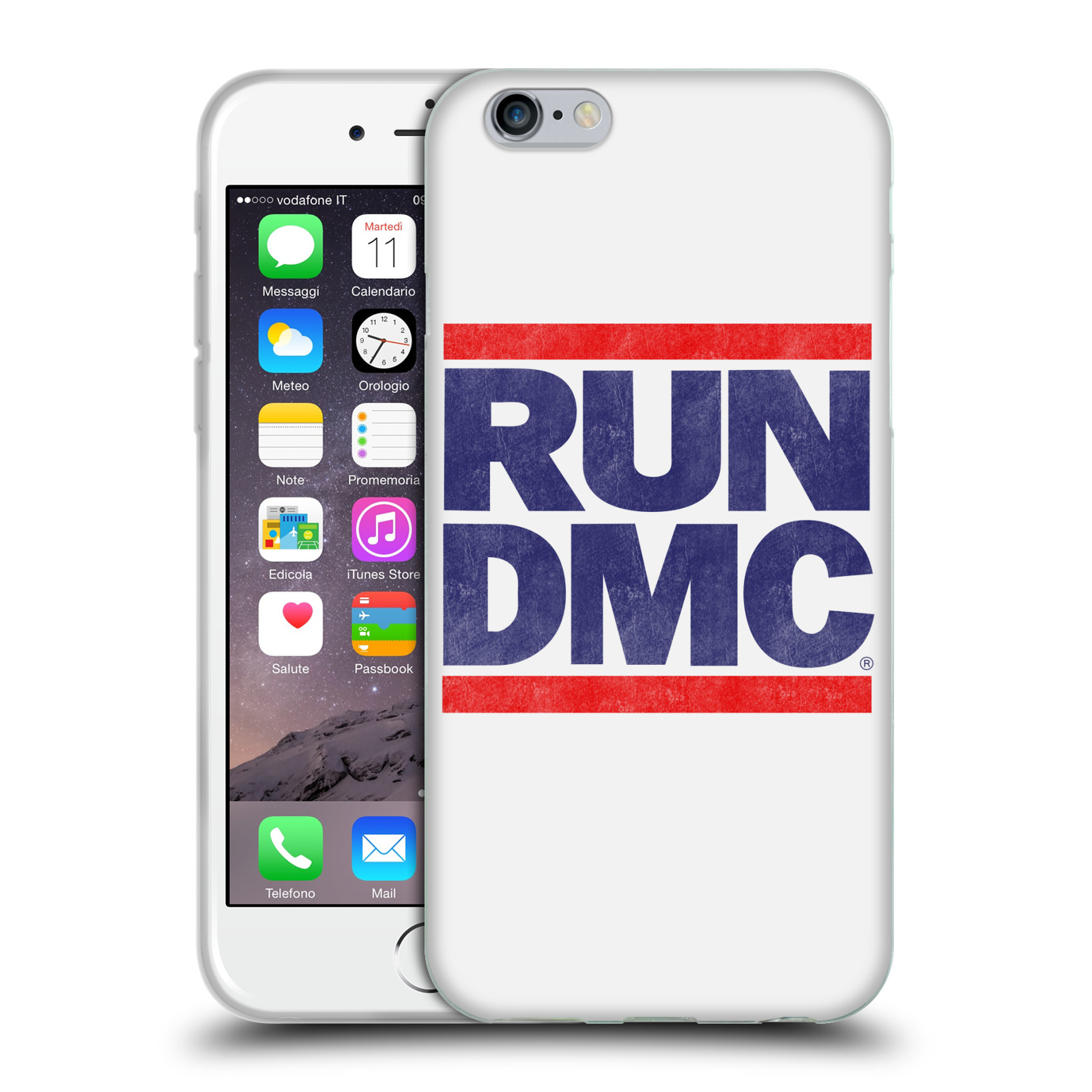 HEAD CASE silikonový obal na mobil Apple Iphone 6/6S rapová kapela Run DMC modrá a červená nadpis