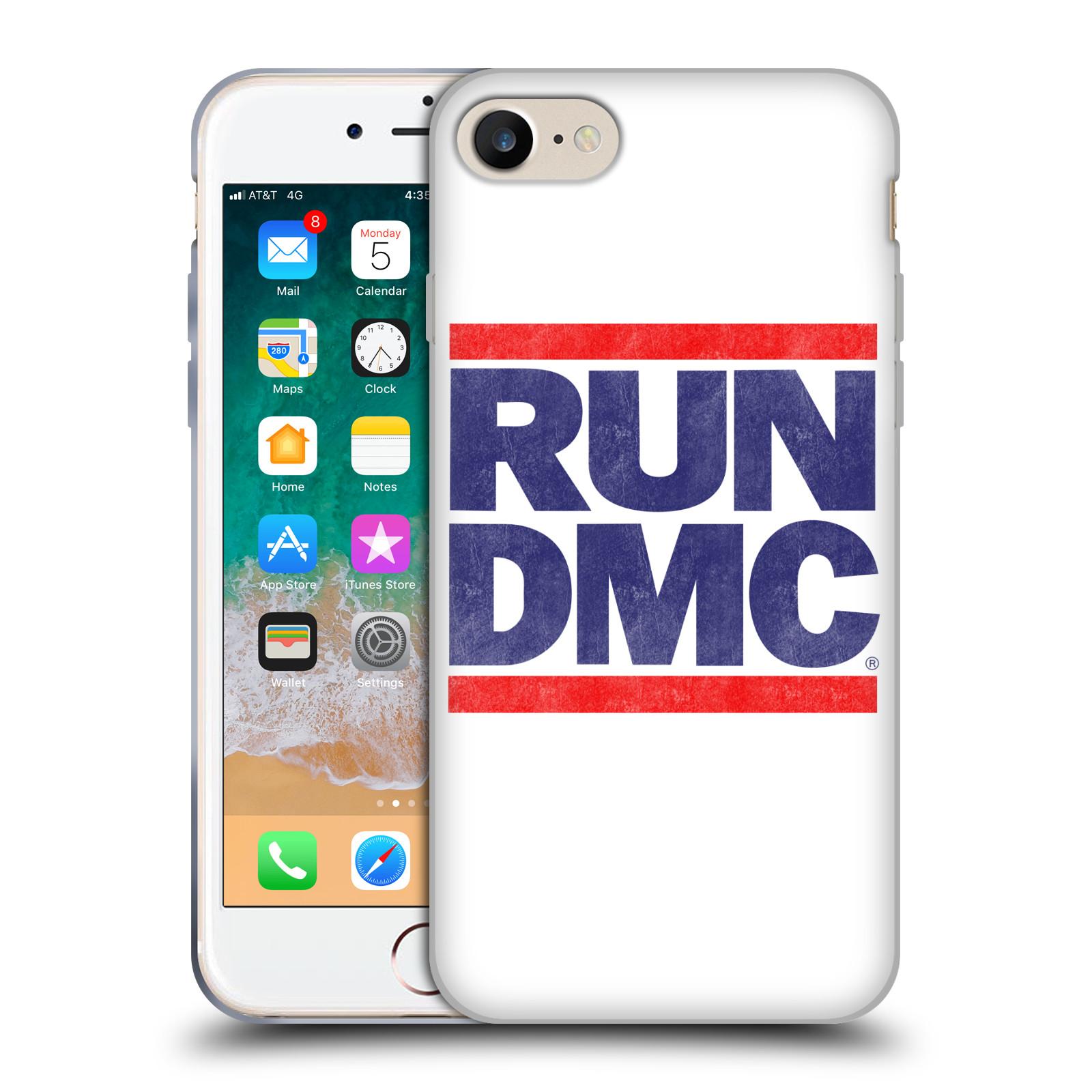 HEAD CASE silikonový obal na mobil Apple Iphone 7 rapová kapela Run DMC modrá a červená nadpis
