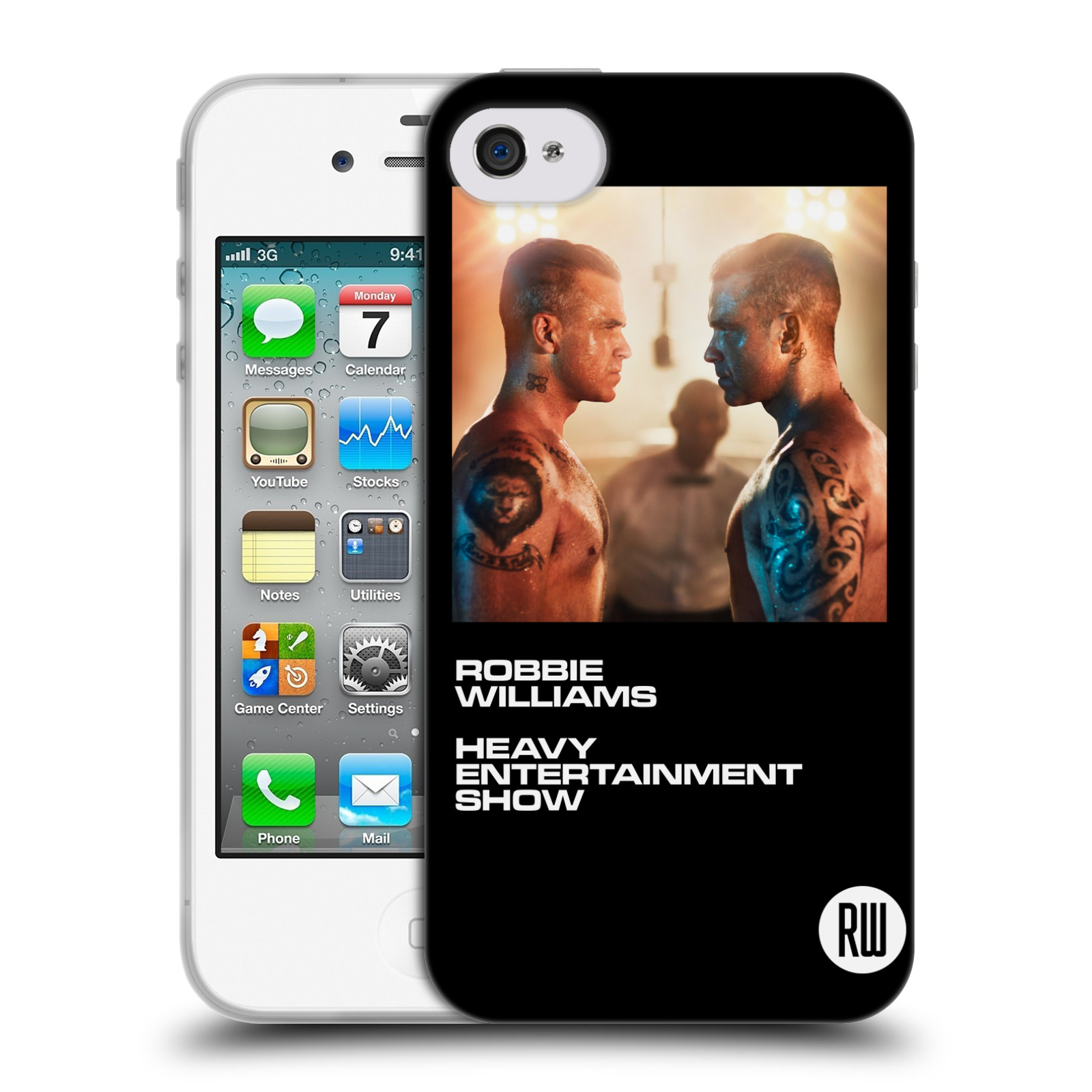 HEAD CASE silikonový obal na mobil Apple Iphone 4/4S zpěvák Robbie Williams souboj
