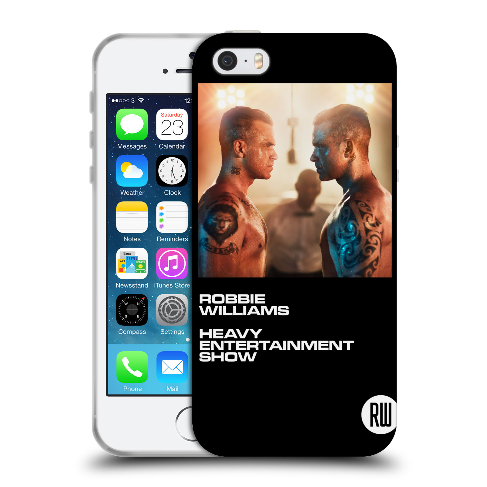 HEAD CASE silikonový obal na mobil Apple Iphone 5/5S zpěvák Robbie Williams souboj