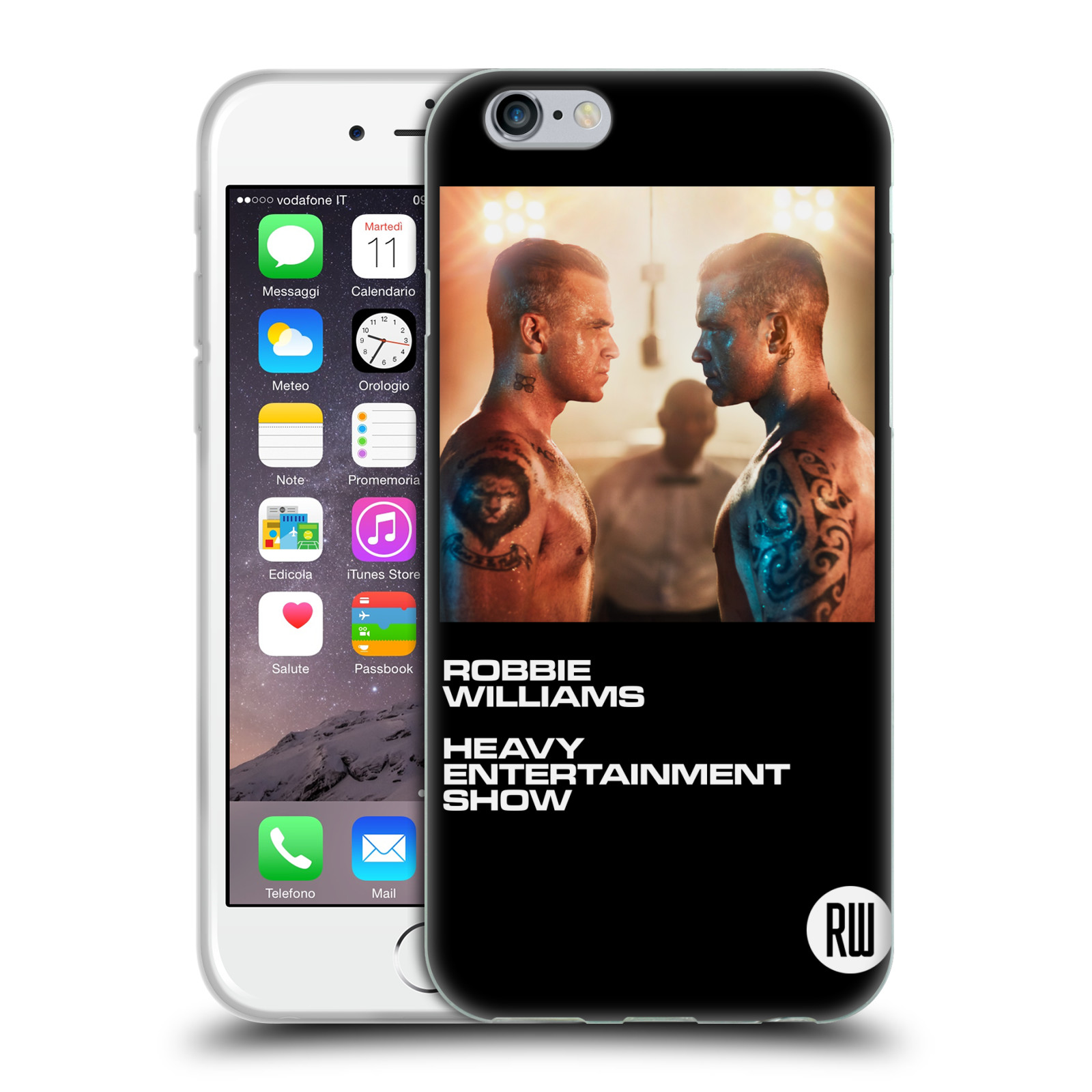 HEAD CASE silikonový obal na mobil Apple Iphone 6/6S zpěvák Robbie Williams souboj