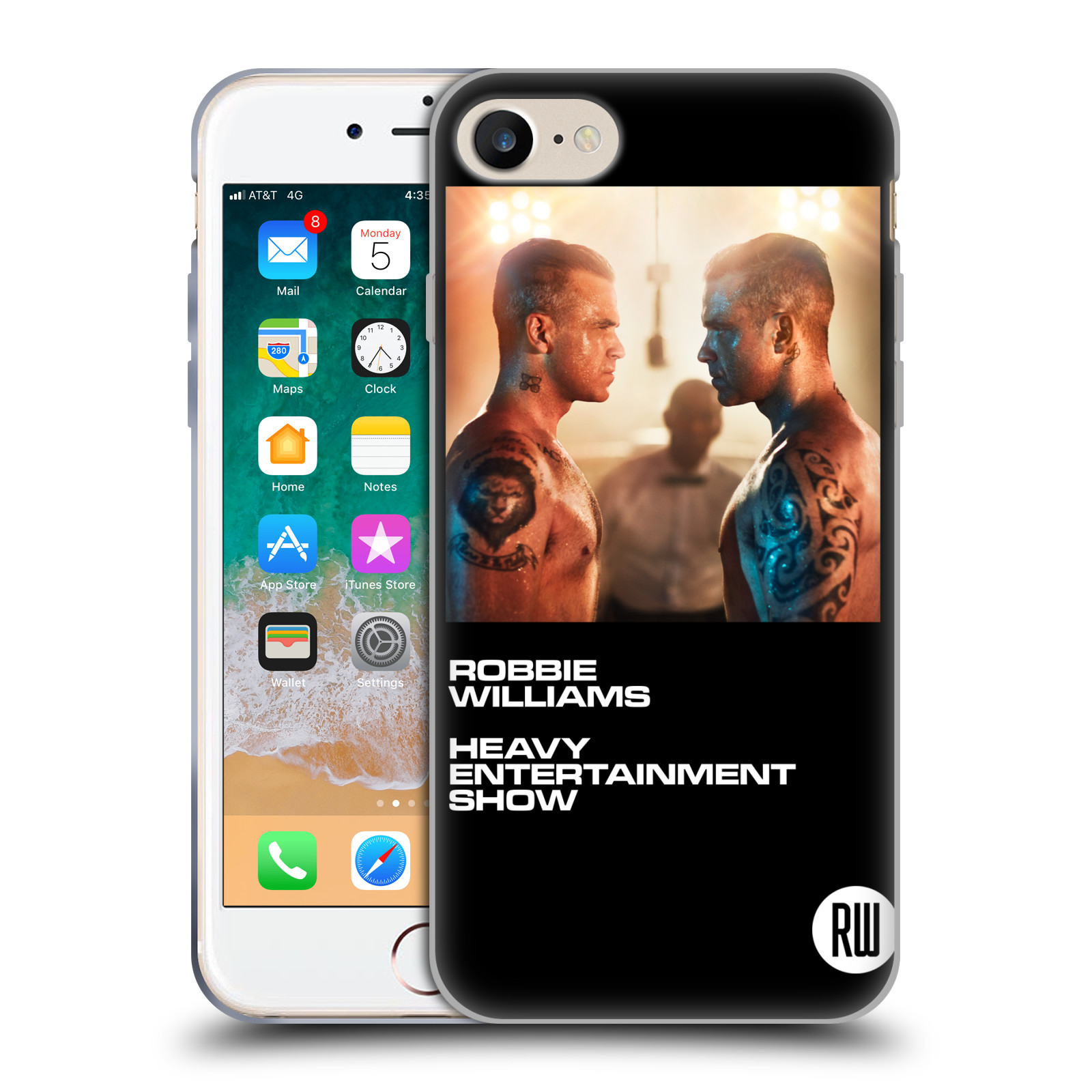 HEAD CASE silikonový obal na mobil Apple Iphone 7 zpěvák Robbie Williams souboj