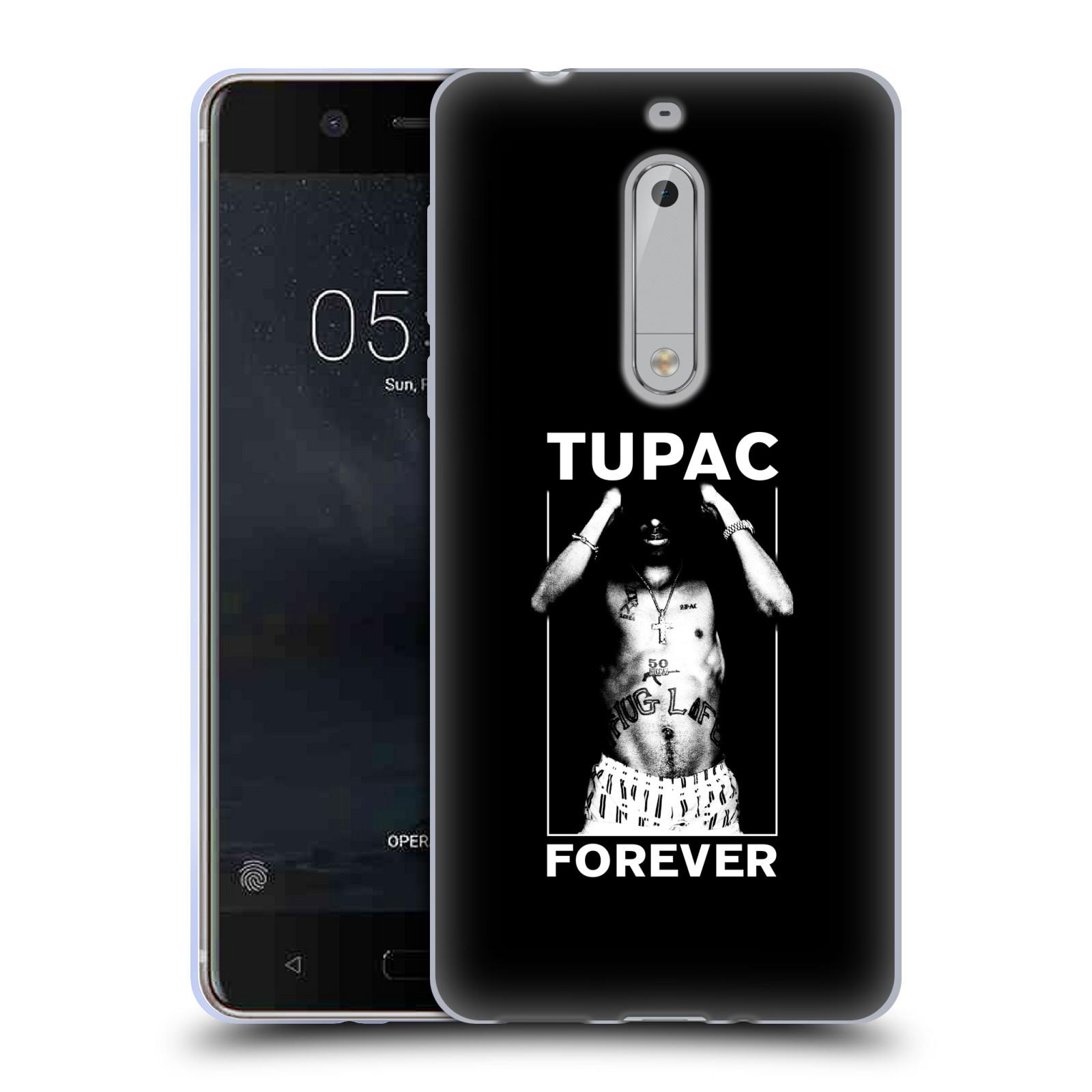 HEAD CASE silikonový obal na mobil Nokia 5 Zpěvák rapper Tupac Shakur 2Pac bílý popisek FOREVER