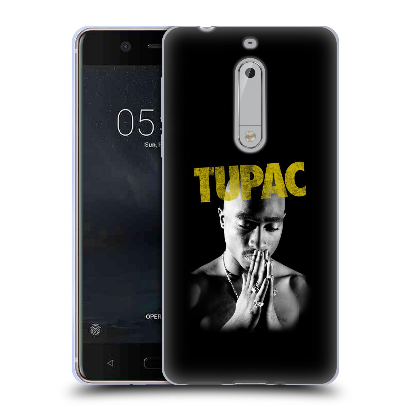 HEAD CASE silikonový obal na mobil Nokia 5 Zpěvák rapper Tupac Shakur 2Pac zlatý nadpis