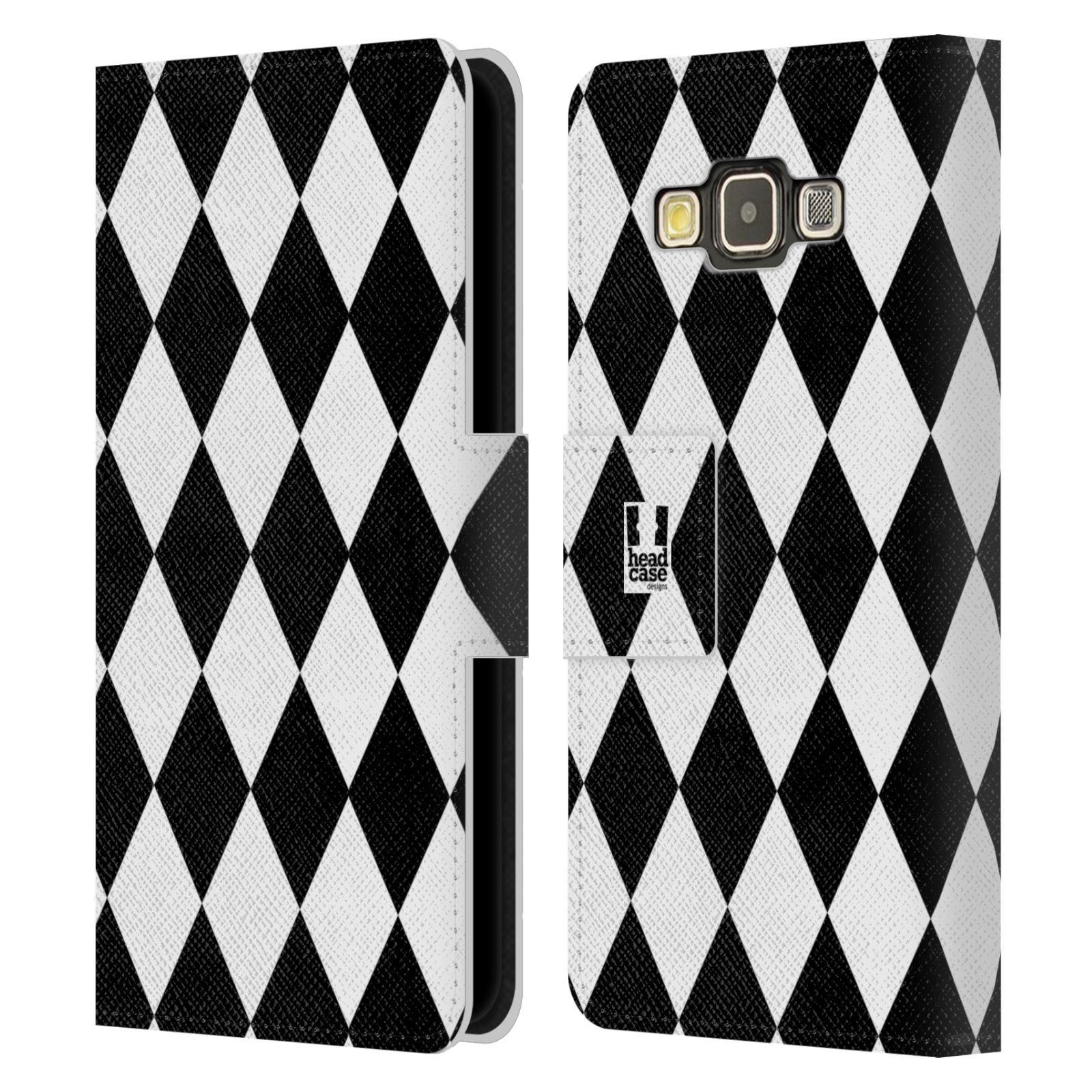 HEAD CASE Flipové pouzdro pro mobil Samsung Galaxy A3 ČERNÁ A BÍLÁ diamant