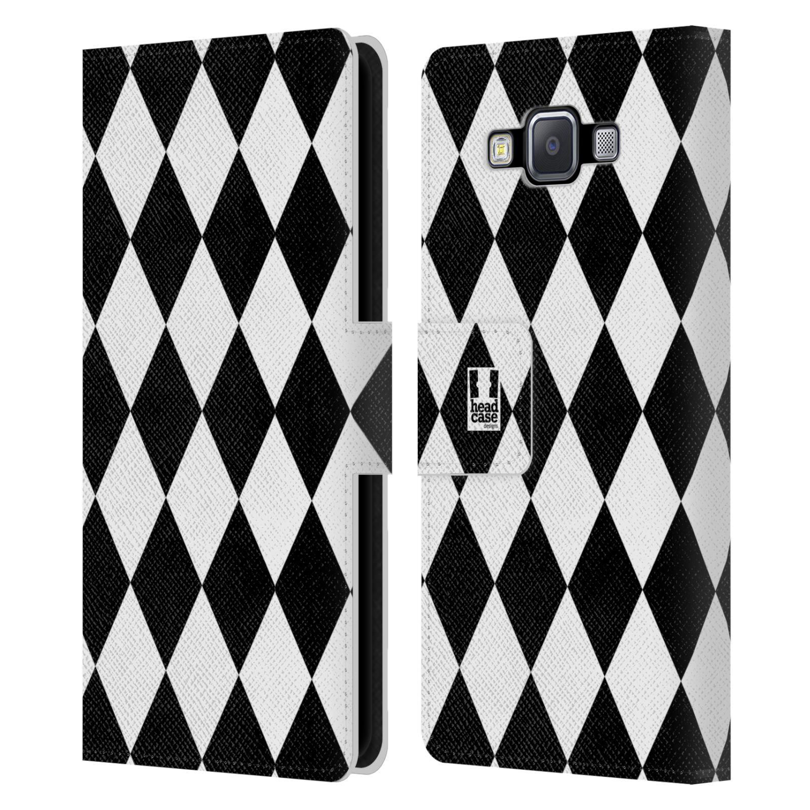 HEAD CASE Flipové pouzdro pro mobil Samsung Galaxy A5 ČERNÁ A BÍLÁ diamant