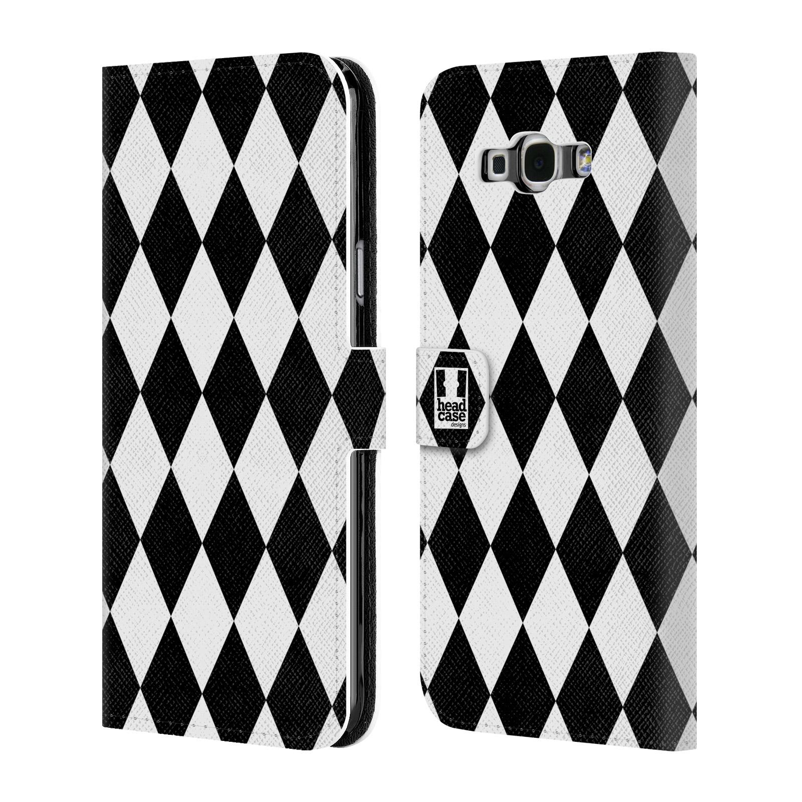 HEAD CASE Flipové pouzdro pro mobil Samsung Galaxy A8 ČERNÁ A BÍLÁ diamant