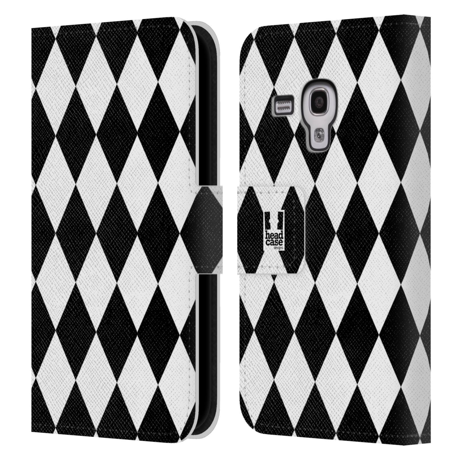 HEAD CASE Flipové pouzdro pro mobil Samsung Galaxy S3 MINI ČERNÁ A BÍLÁ diamant