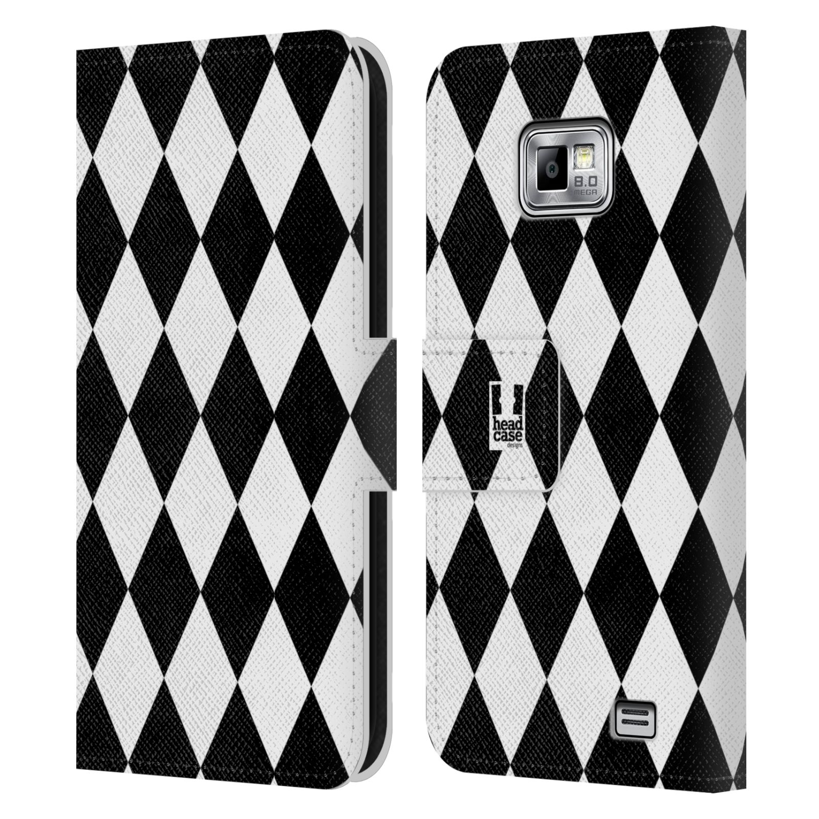 HEAD CASE Flipové pouzdro pro mobil Samsung Galaxy S2 i9100 ČERNÁ A BÍLÁ diamant