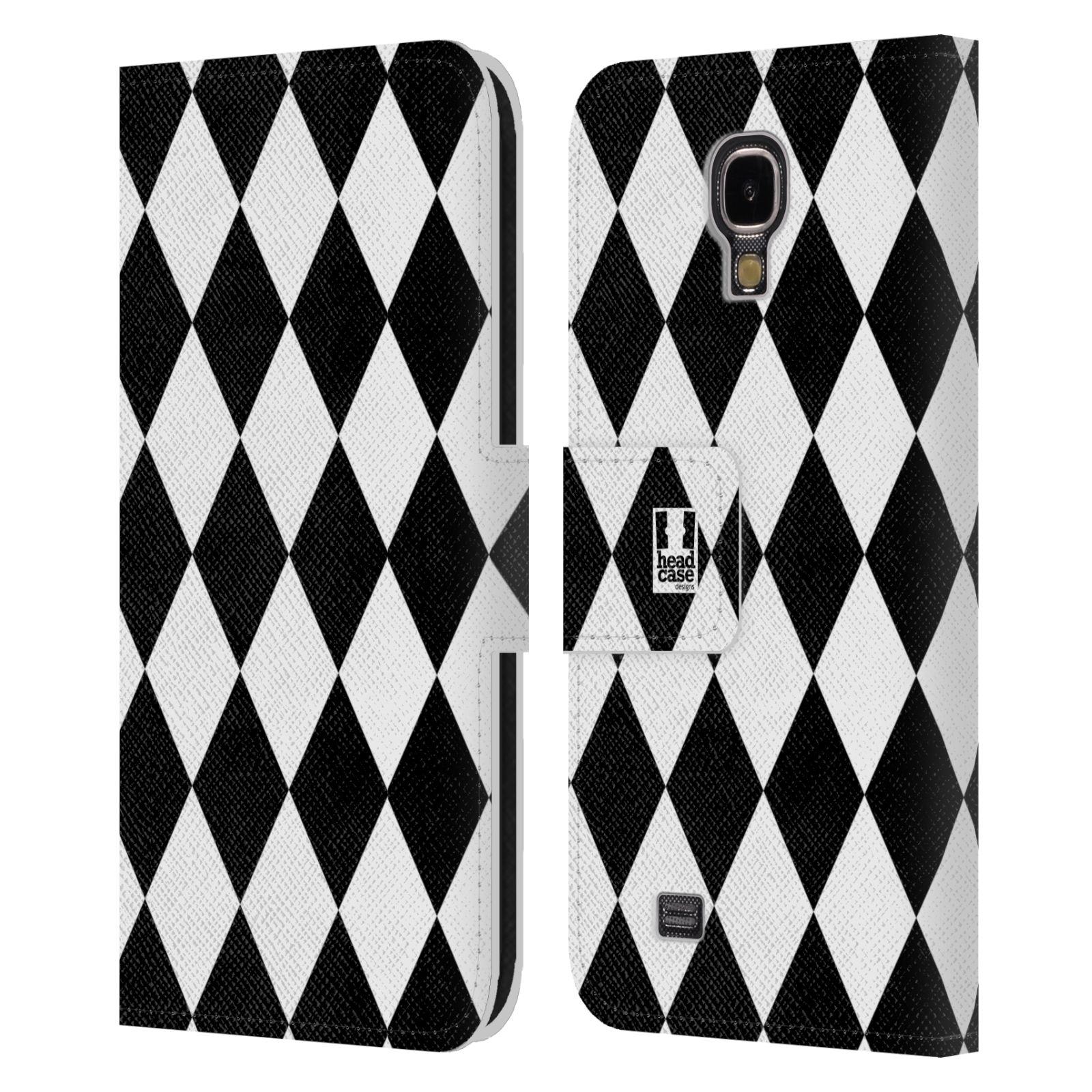 HEAD CASE Flipové pouzdro pro mobil Samsung Galaxy S4 ČERNÁ A BÍLÁ diamant