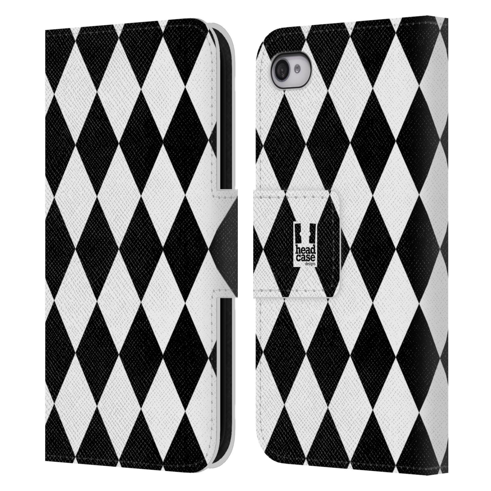 HEAD CASE Flipové pouzdro pro mobil Apple Iphone 4/4s ČERNÁ A BÍLÁ diamant