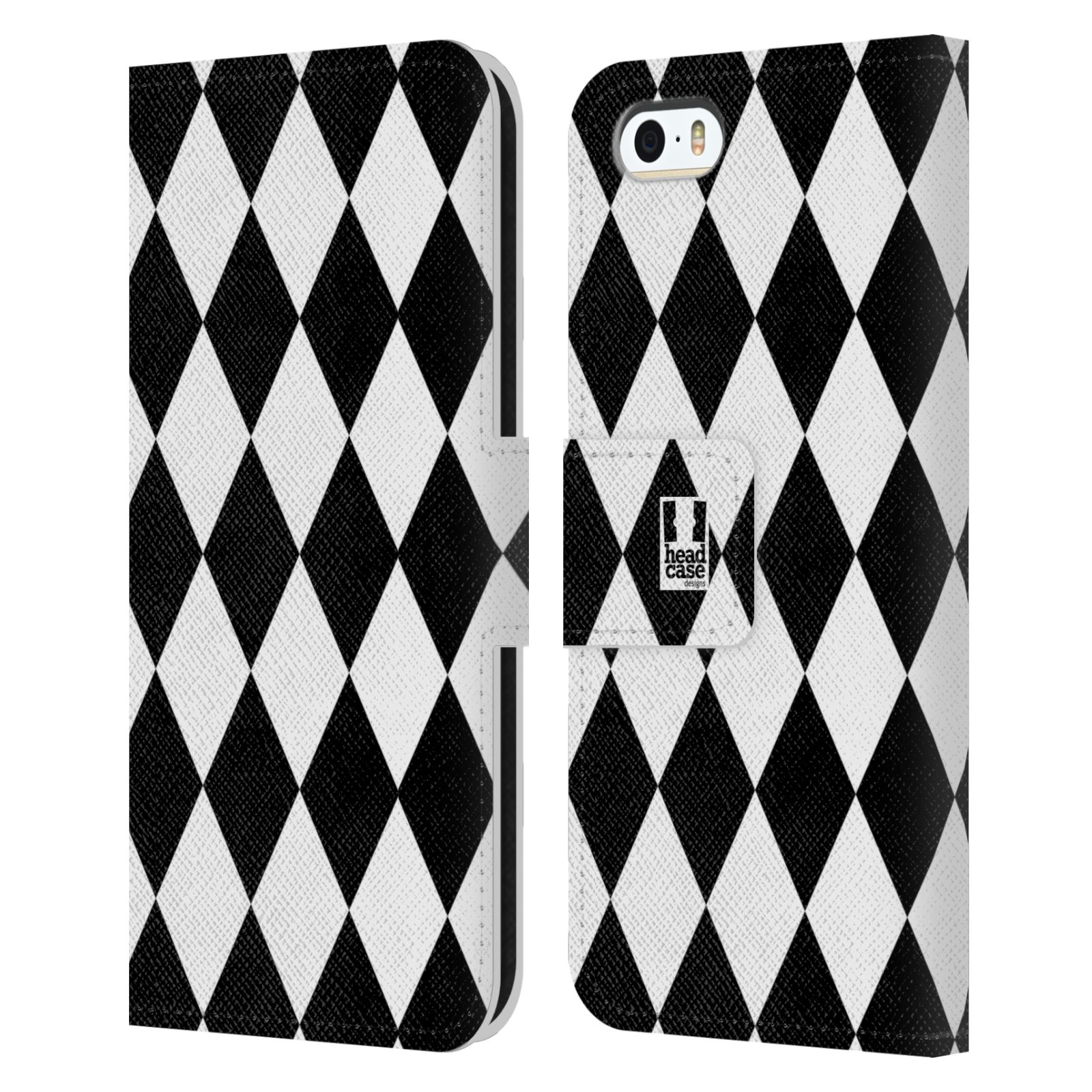 HEAD CASE Flipové pouzdro pro mobil Apple Iphone 5/5s ČERNÁ A BÍLÁ diamant