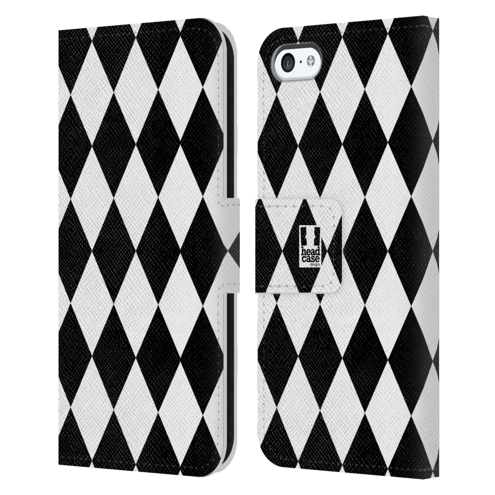 HEAD CASE Flipové pouzdro pro mobil Apple Iphone 5C ČERNÁ A BÍLÁ diamant