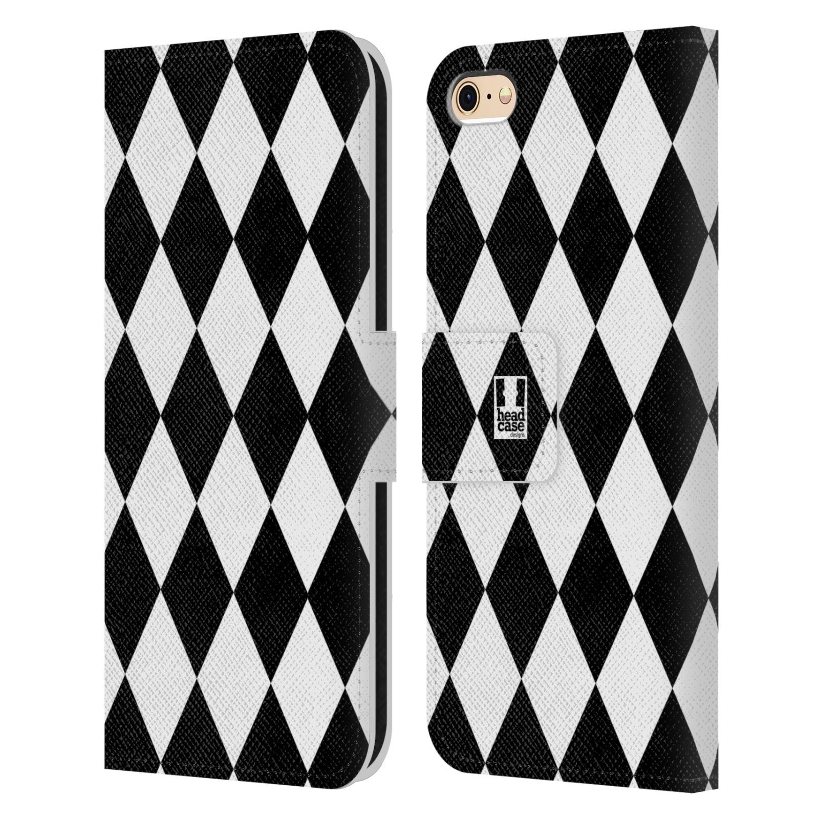 HEAD CASE Flipové pouzdro pro mobil Apple Iphone 6/6s ČERNÁ A BÍLÁ diamant