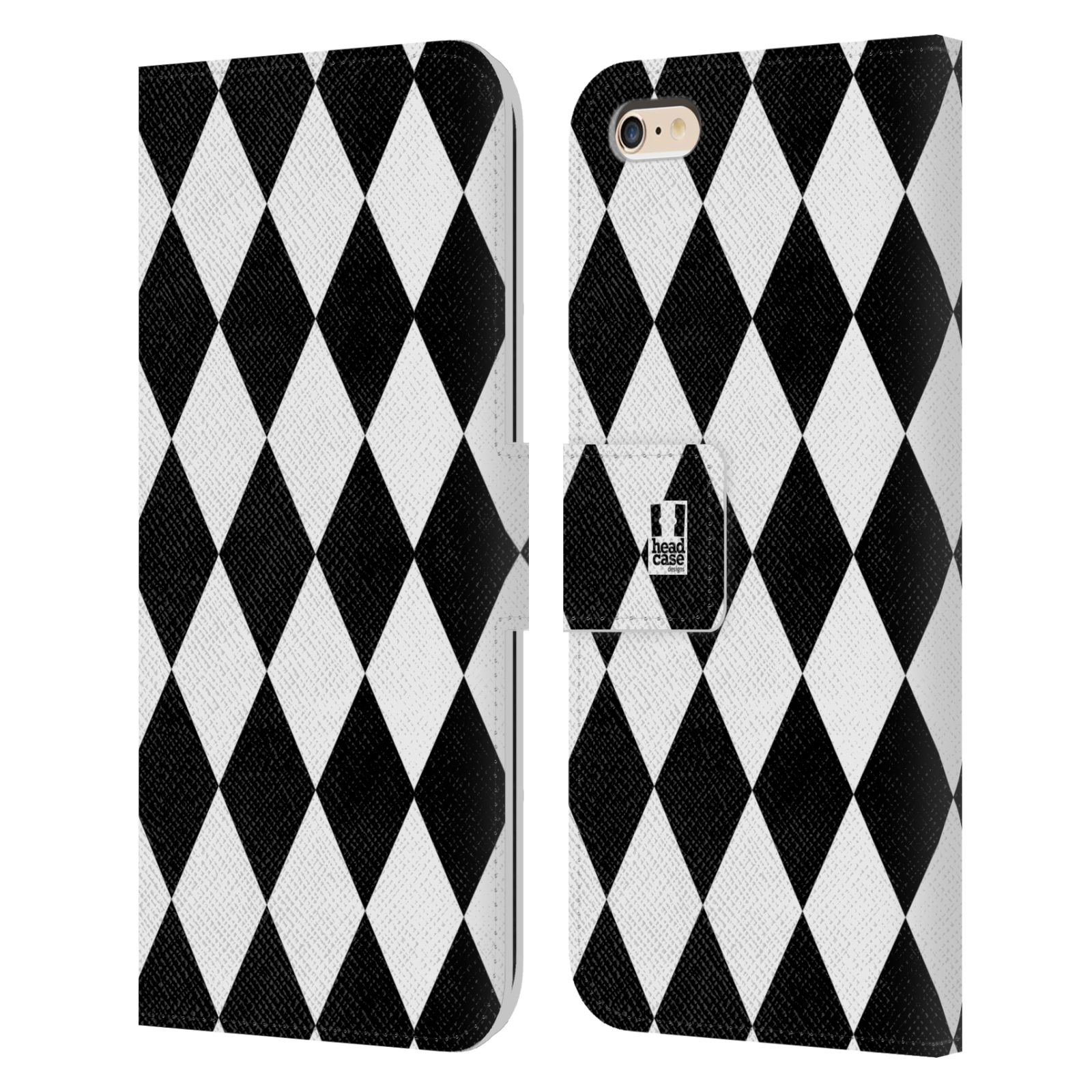 HEAD CASE Flipové pouzdro pro mobil Apple Iphone 6 PLUS / 6S PLUS ČERNÁ A BÍLÁ diamant