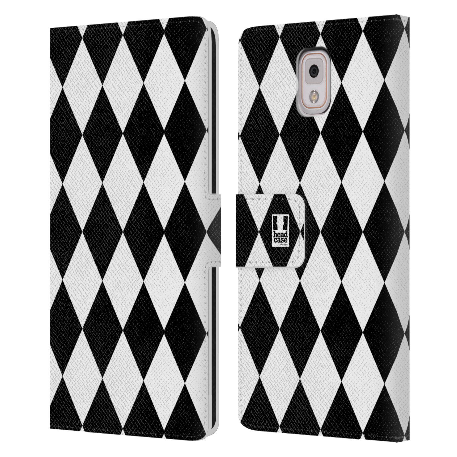 HEAD CASE Flipové pouzdro pro mobil Samsung Galaxy Note 3 N9005 ČERNÁ A BÍLÁ diamant