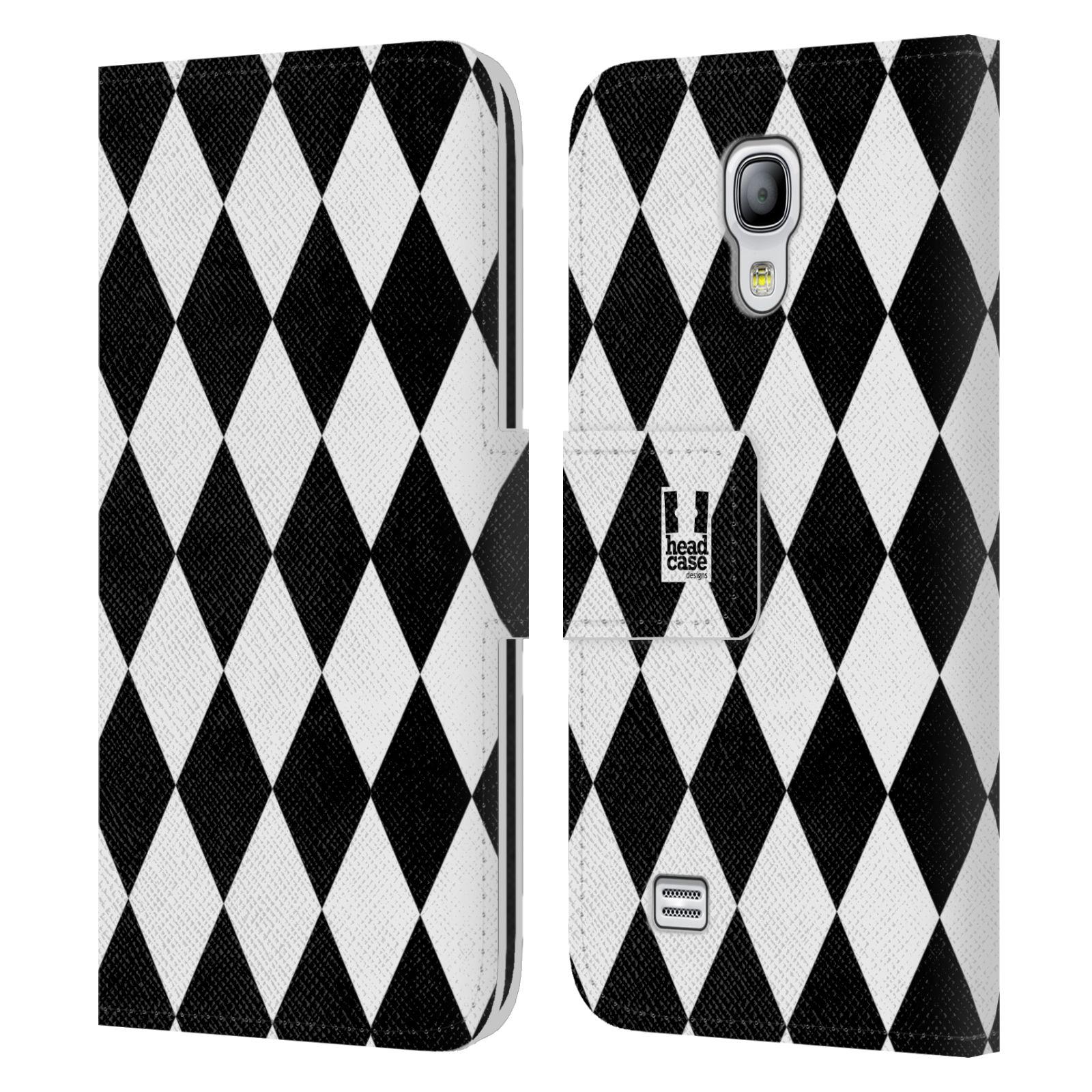 HEAD CASE Flipové pouzdro pro mobil Samsung Galaxy S4 MINI / S4 MINI DUOS ČERNÁ A BÍLÁ diamant