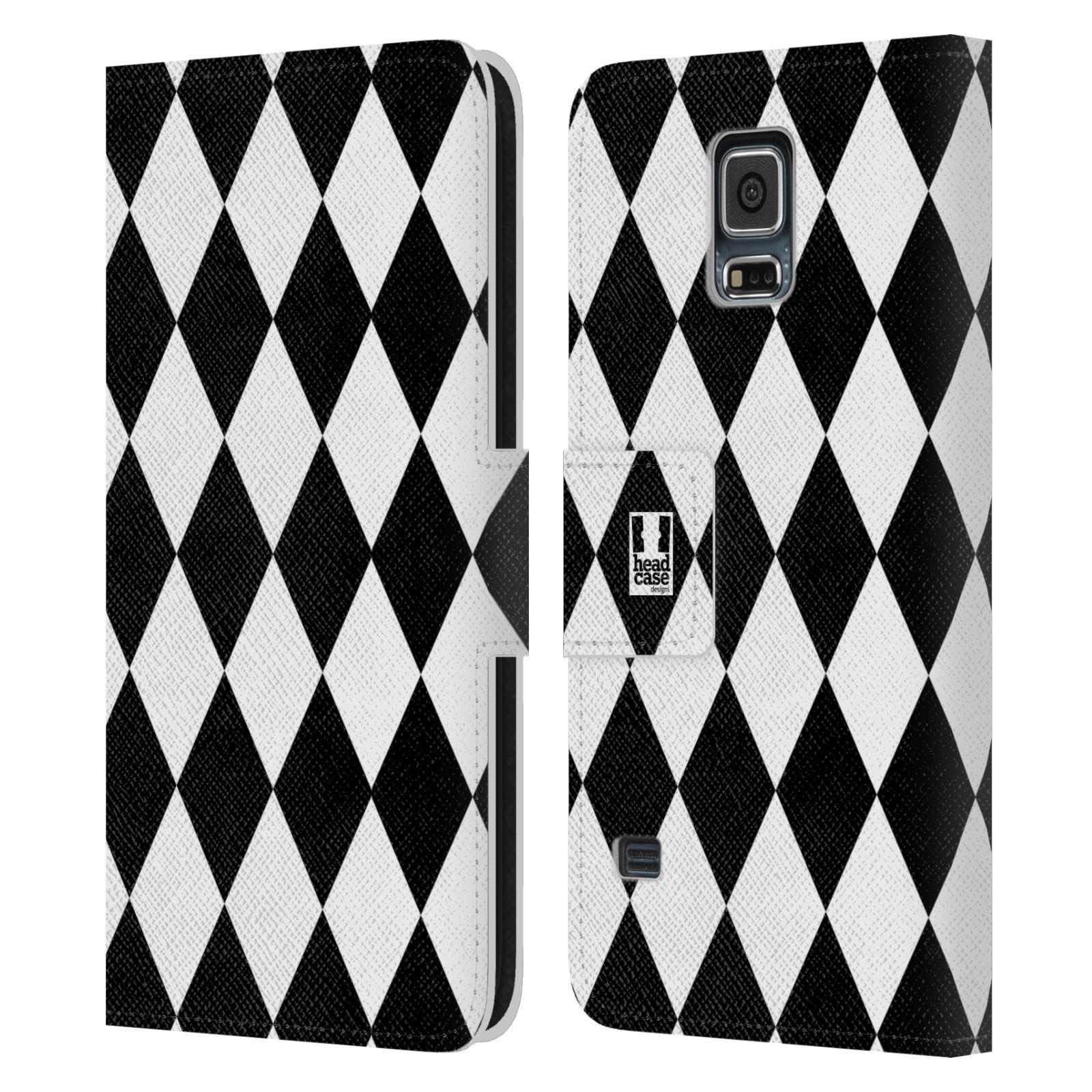 HEAD CASE Flipové pouzdro pro mobil Samsung Galaxy S5 / S5 NEO ČERNÁ A BÍLÁ diamant