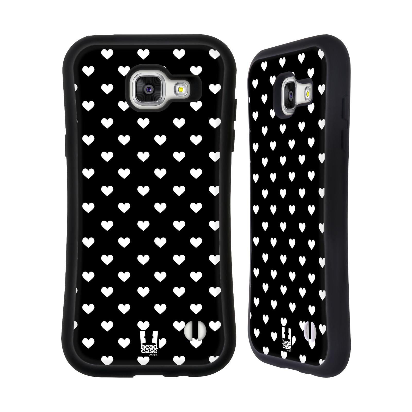 HEAD CASE silikon/plast odolný obal na mobil Samsung Galaxy A5 2016 vzor Srdíčka ČERNÁ A BÍLÁ