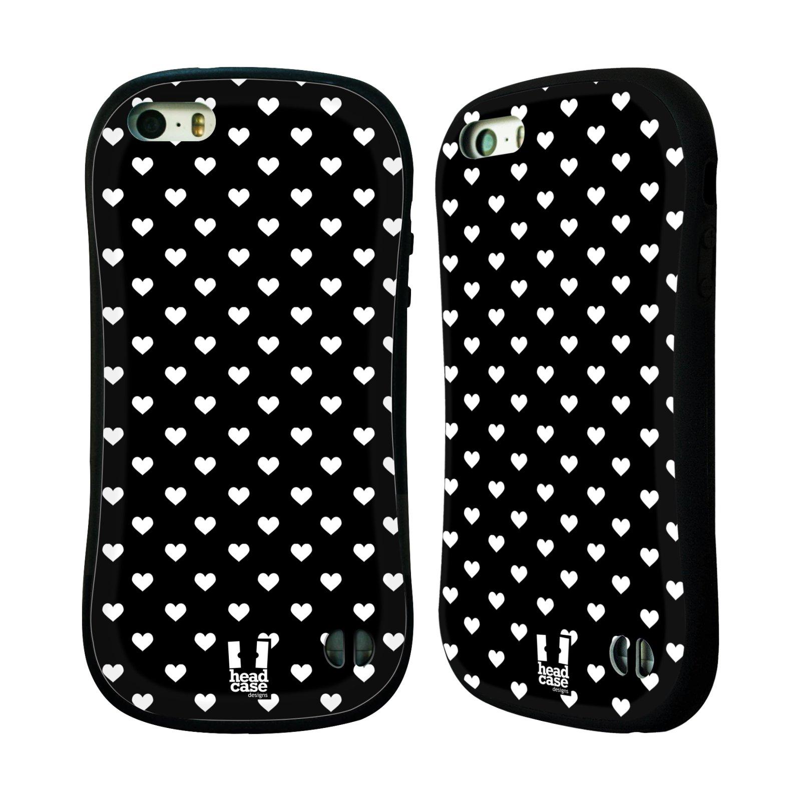 HEAD CASE silikon/plast odolný obal na mobil Apple Iphone 5/5S vzor Srdíčka ČERNÁ A BÍLÁ