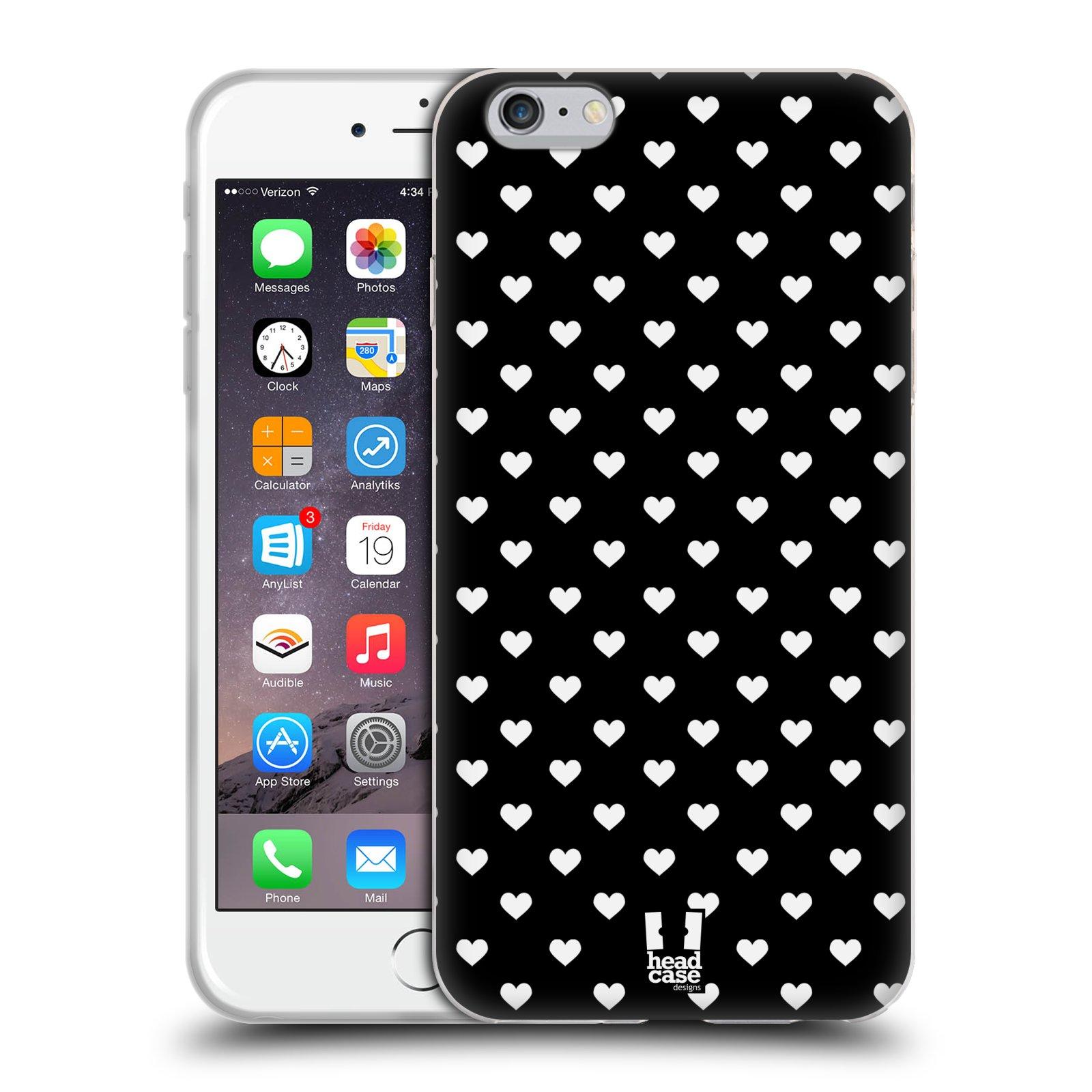 HEAD CASE silikonový obal na mobil Apple Iphone 6 PLUS  6S PLUS vzor Srdíčka  ČERNÁ A BÍLÁ b5808334c26