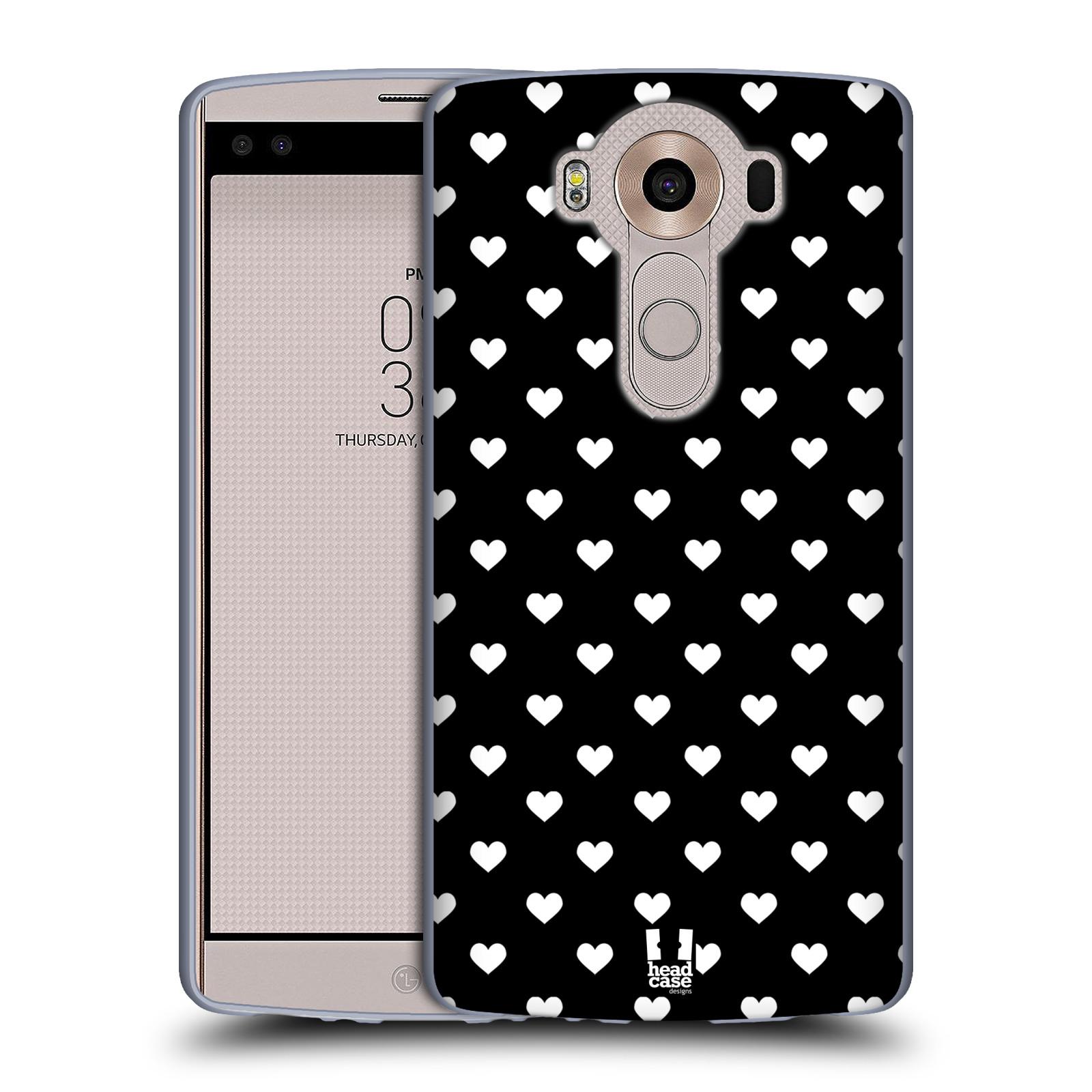 HEAD CASE silikonový obal na mobil LG V10 (H960A) vzor Srdíčka ČERNÁ A BÍLÁ
