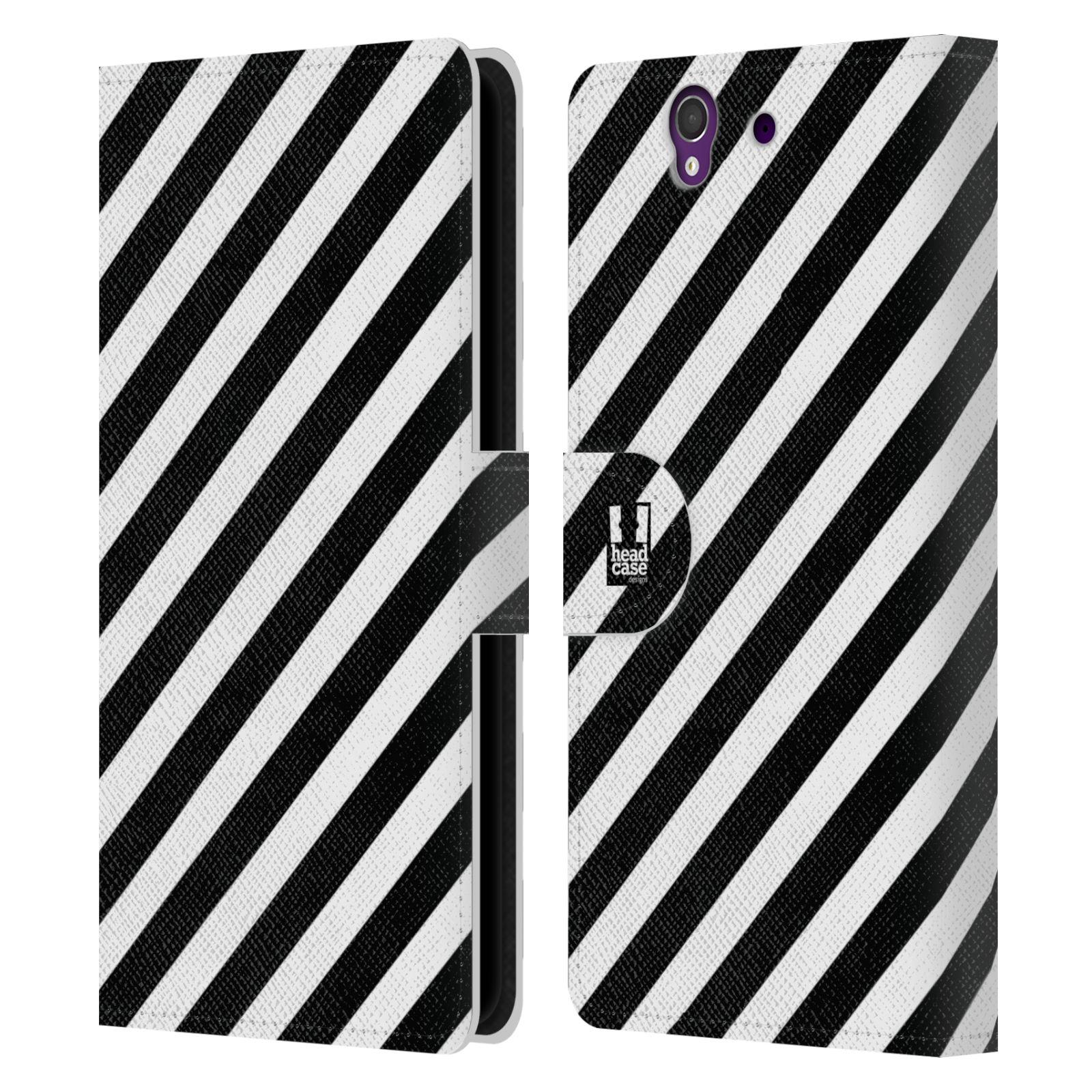 HEAD CASE Flipové pouzdro pro mobil SONY XPERIA Z (C6603) ČERNÁ A BÍLÁ zebra pruhy