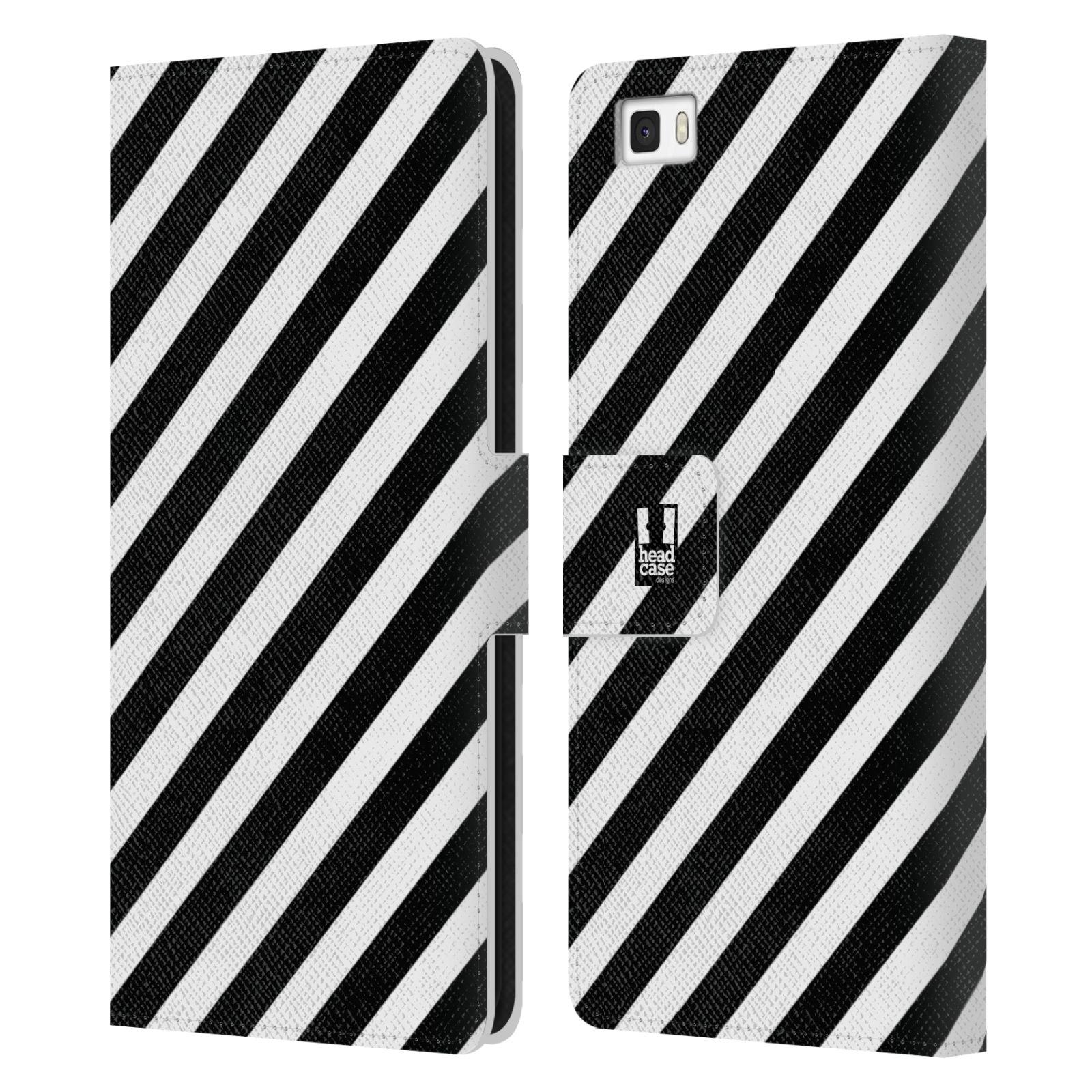 HEAD CASE Flipové pouzdro pro mobil Huawei P8 LITE ČERNÁ A BÍLÁ zebra pruhy