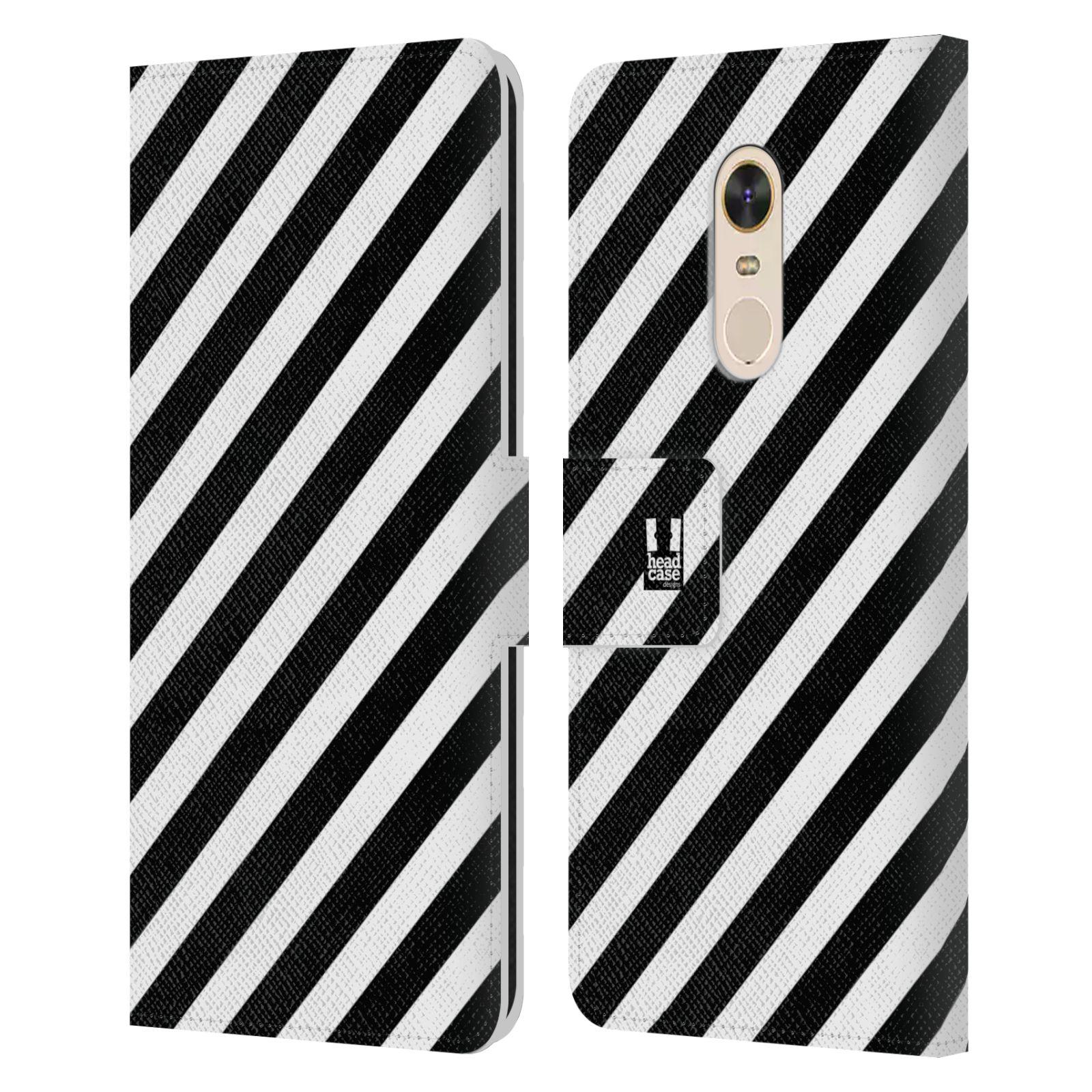 HEAD CASE Flipové pouzdro pro mobil Xiaomi Redmi Note 5 ČERNÁ A BÍLÁ zebra pruhy