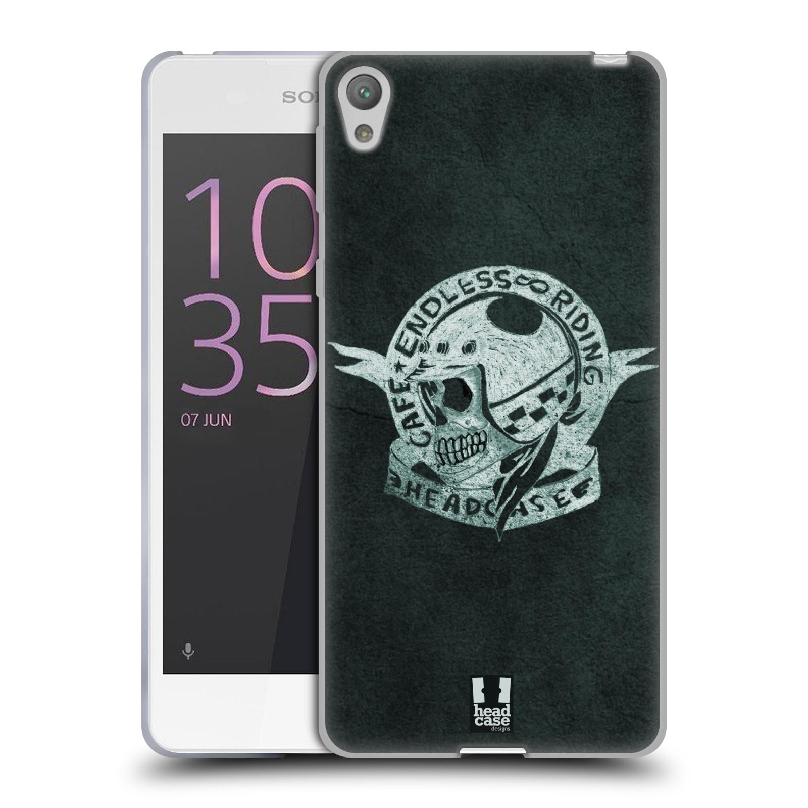 HEAD CASE silikonový obal na mobil Sony Xperia E5 Motorkáři Cafe Racer nekonečné závodění