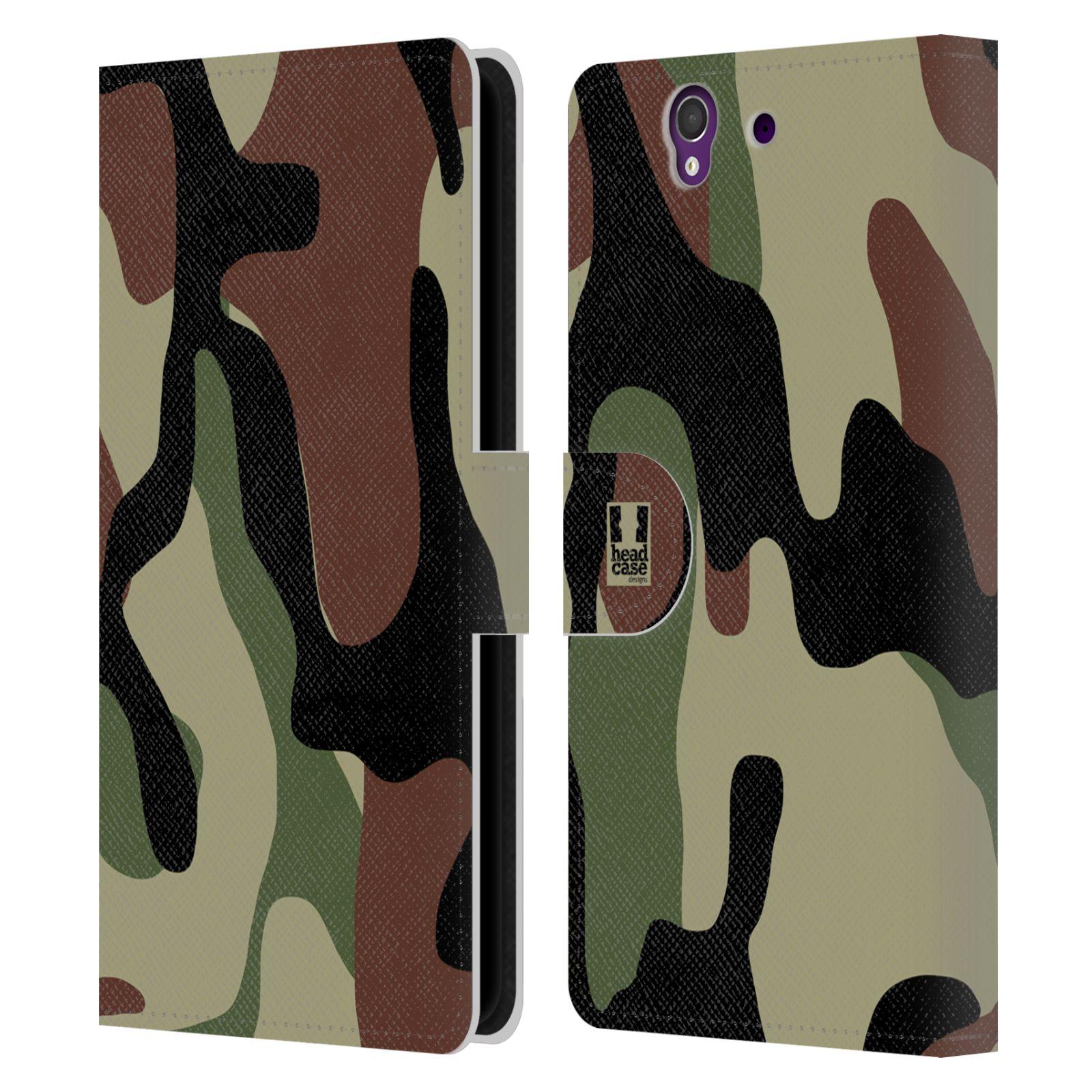 HEAD CASE Flipové pouzdro pro mobil SONY XPERIA Z (C6603) kamufláž les hnědá, černá a zelená