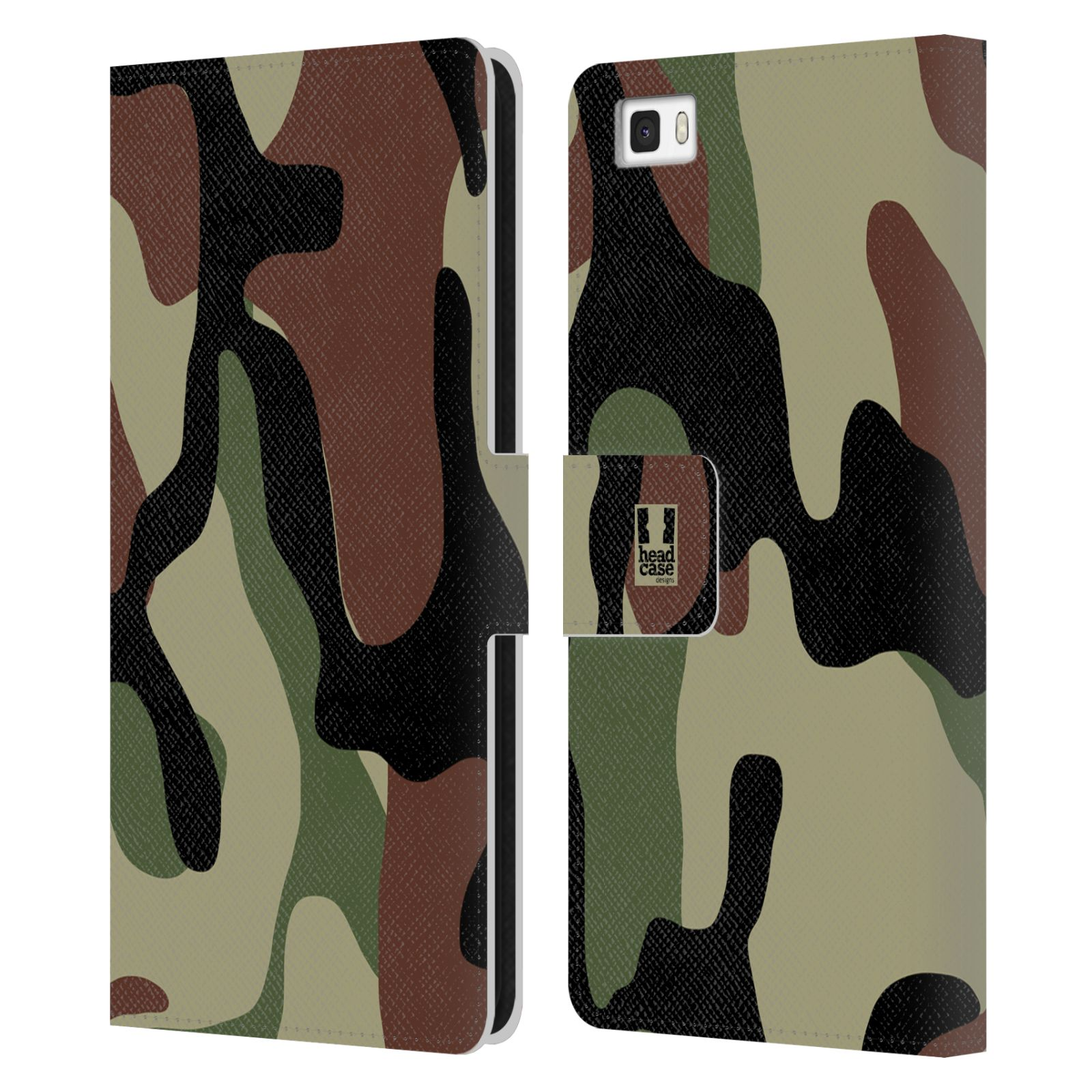 HEAD CASE DESIGNS MILITARY CAMO LEATHER BOOK WALLET CASE COVER FOR HUAWEI P8LITE