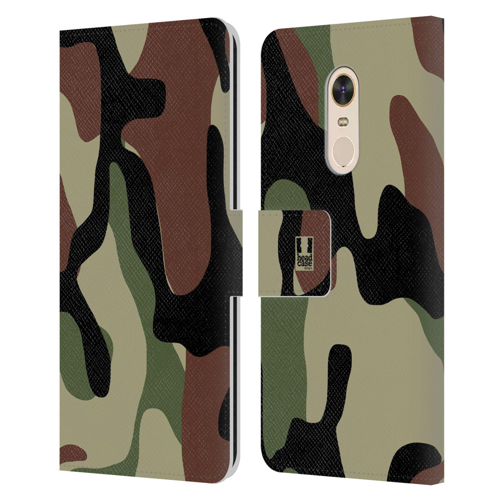 HEAD CASE Flipové pouzdro pro mobil Xiaomi Redmi Note 5 kamufláž les hnědá, černá a zelená