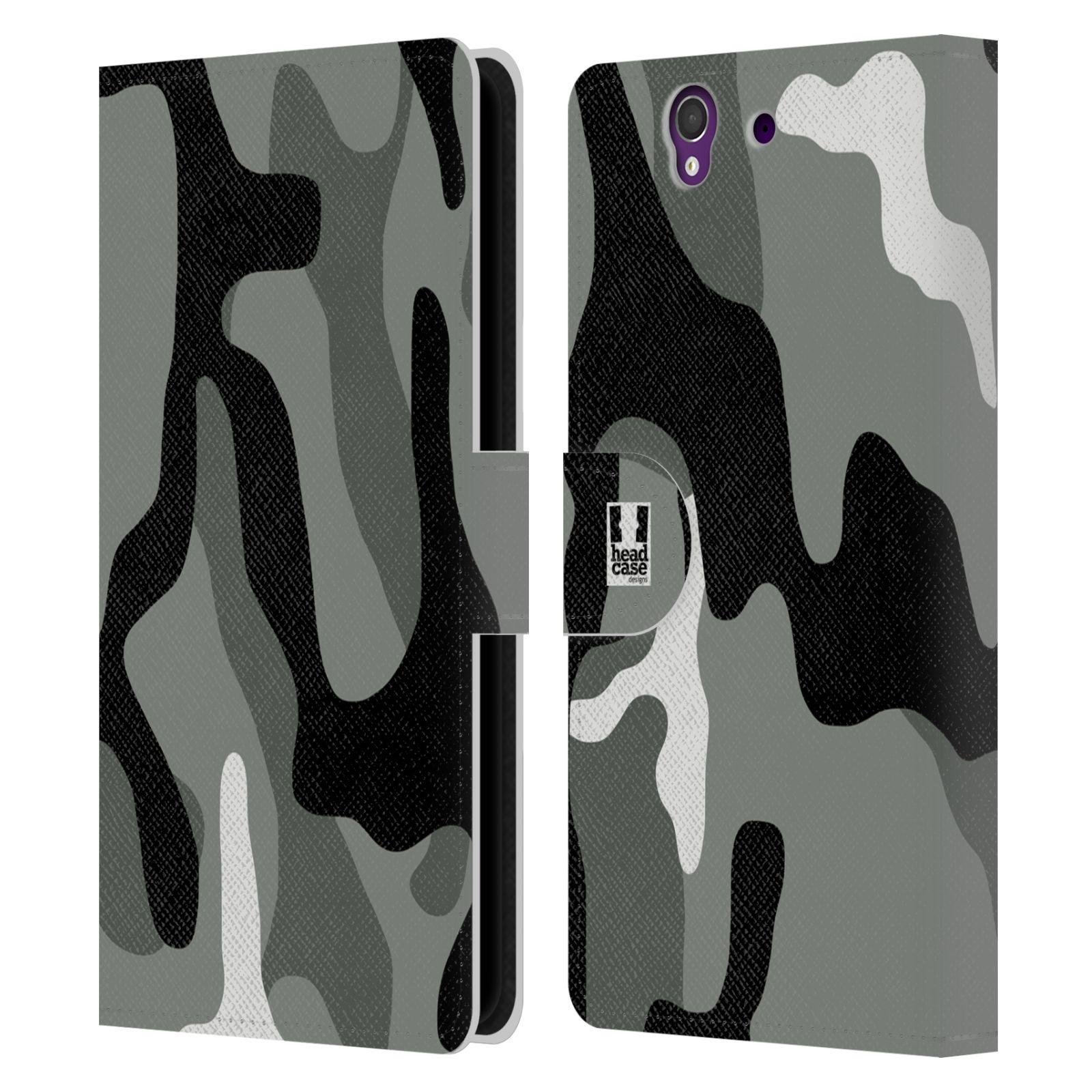 HEAD CASE Flipové pouzdro pro mobil SONY XPERIA Z (C6603) kamufláž šedá barva